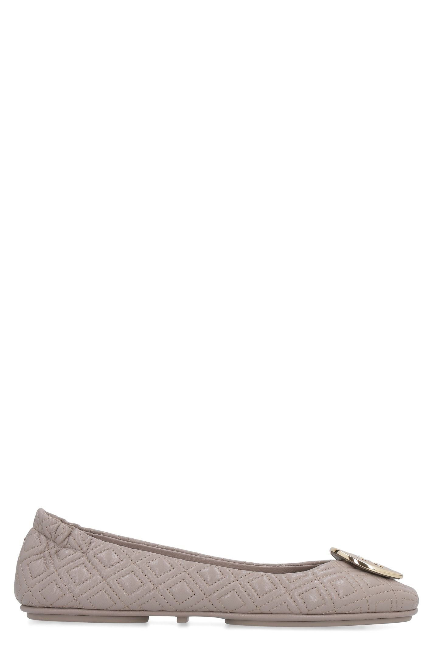 Tory Burch Minnie Leather Travel Ballet Flats In Grey