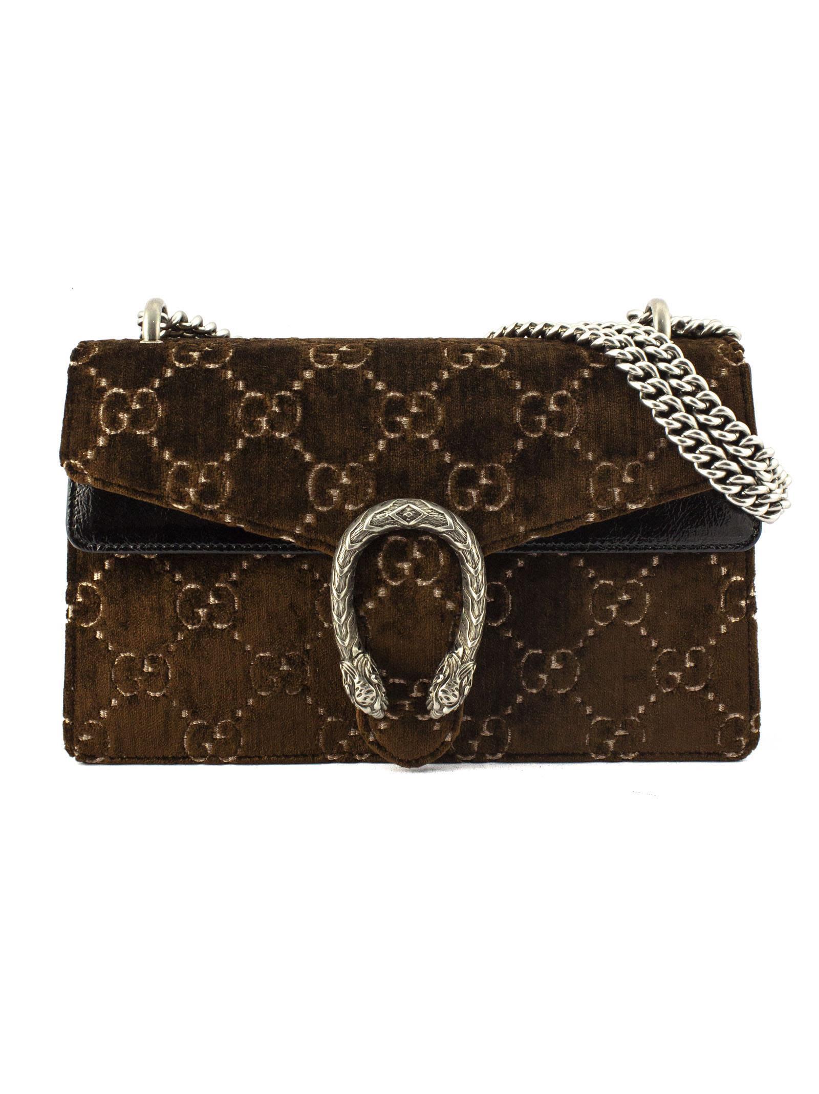 8e1bdf25e71 Gucci Gucci Brown Dionysus Gg Velvet Small Shoulder Bag - Marrone ...