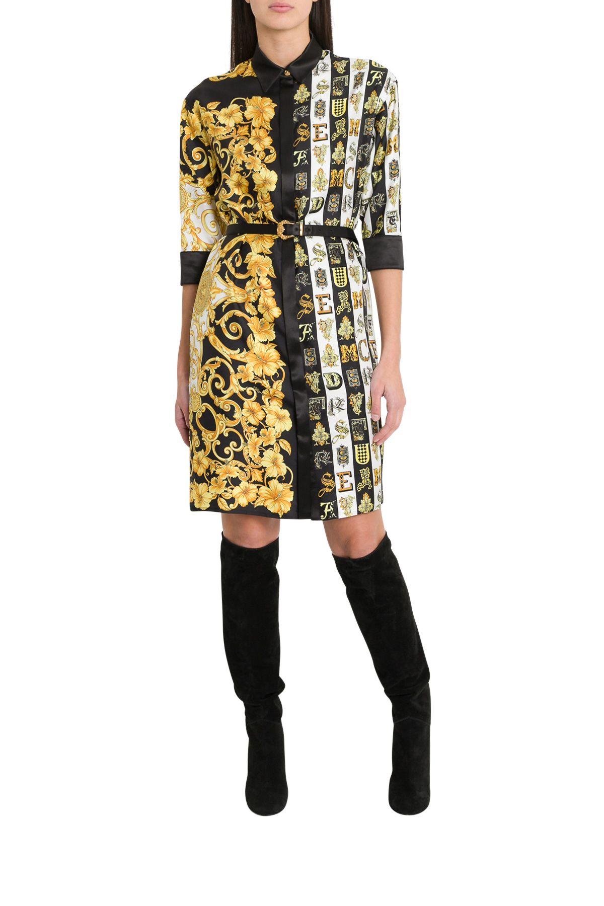 0e39b9f6fe4 Versace Versace Mixed Print Satin Shirt Dress - Multi - 10802270 ...