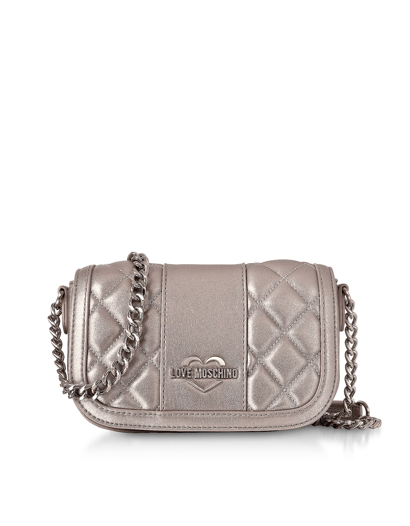 be0a6acd1d Love Moschino Metallic Quilted Eco Leather Mini Shoulder Bag - Silver ...