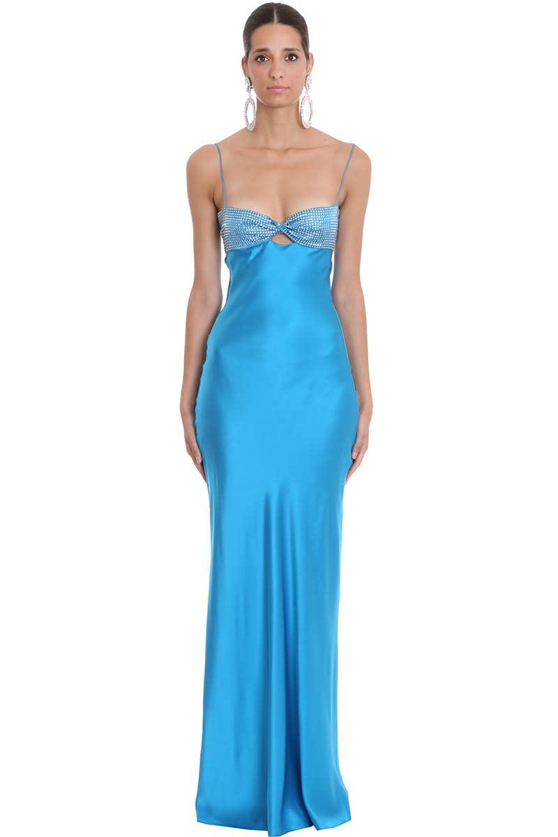 Alessandra Rich Dress In Blue Silk