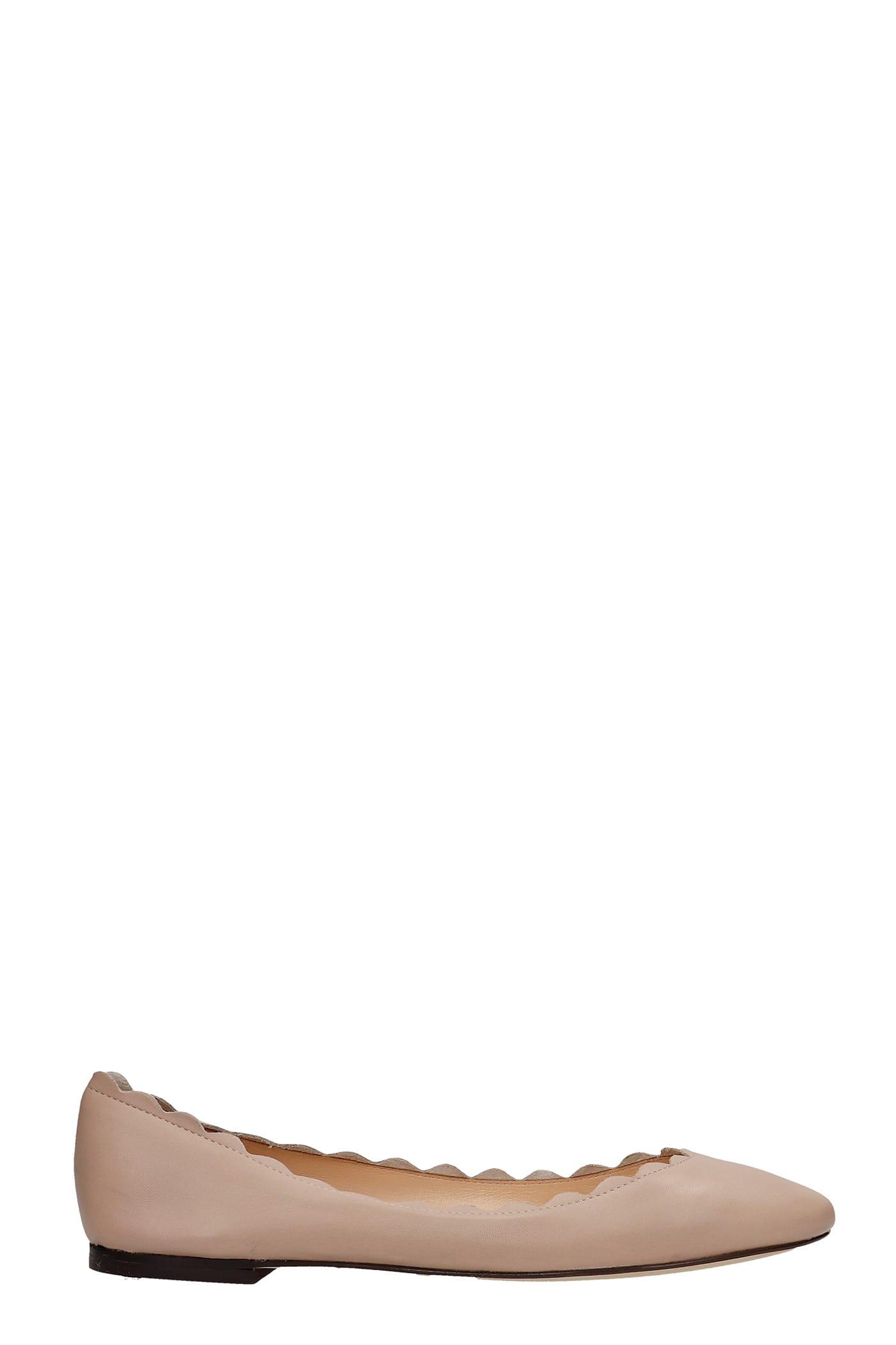 Ballet Flats In Beige Leather