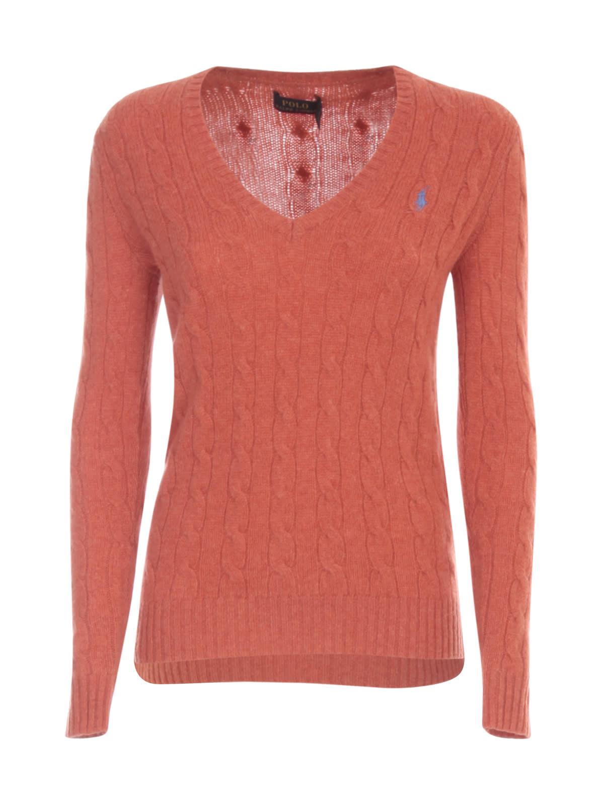 Polo Ralph Lauren Sweater V Neck W/braids