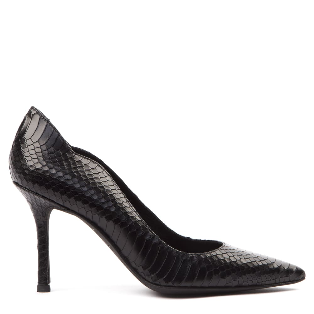 Gemma Black Scaled Leather Pumps
