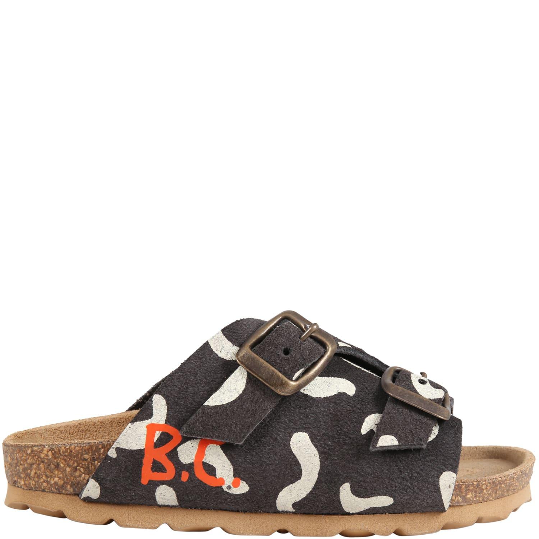 Black Sandals For Kids With Orange Logo