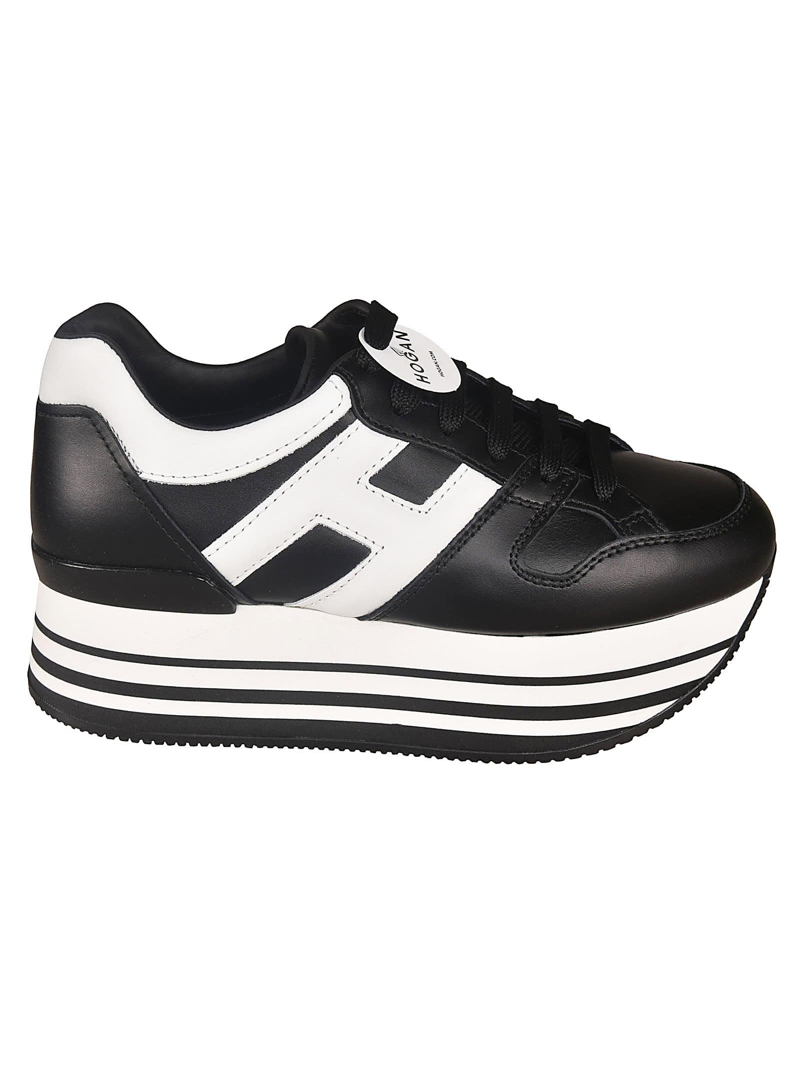 Hogan H233 Maxi 222 Sneakers In Black/white | ModeSens