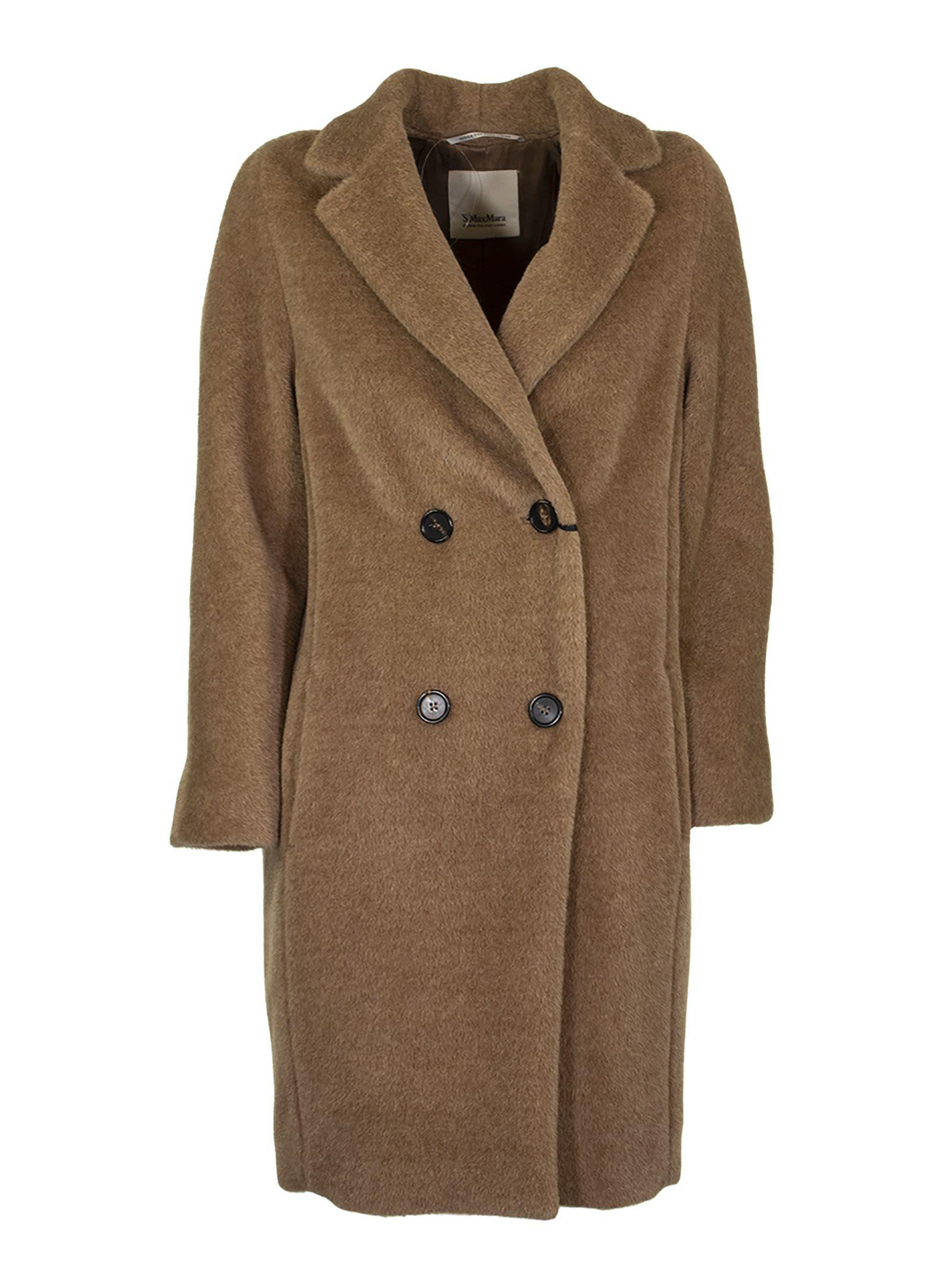 Max Mara Double-breasted Coat In Alpaca Blend