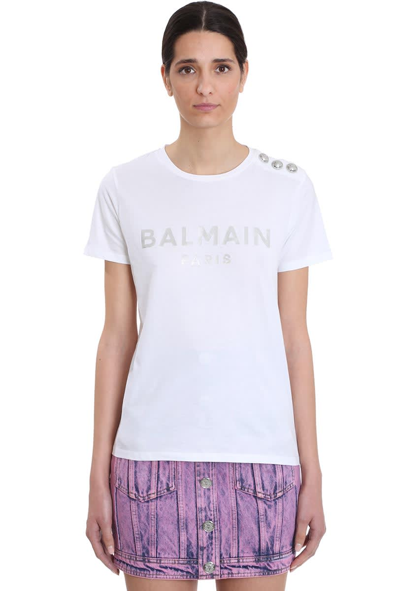 Balmain T-shirt In White Cotton