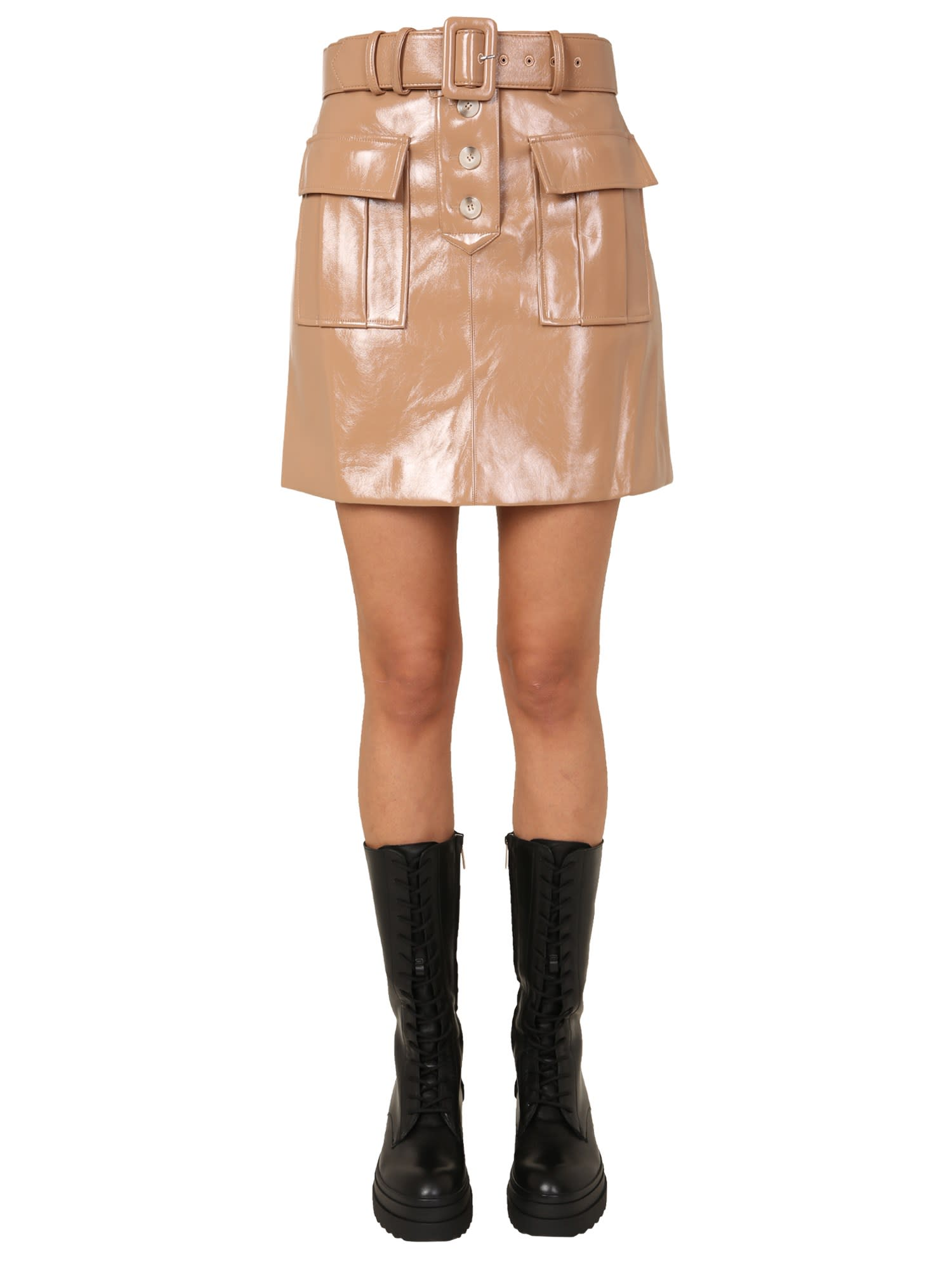 Self-Portrait PAINTED FAUX LEATHER MINI SKIRT