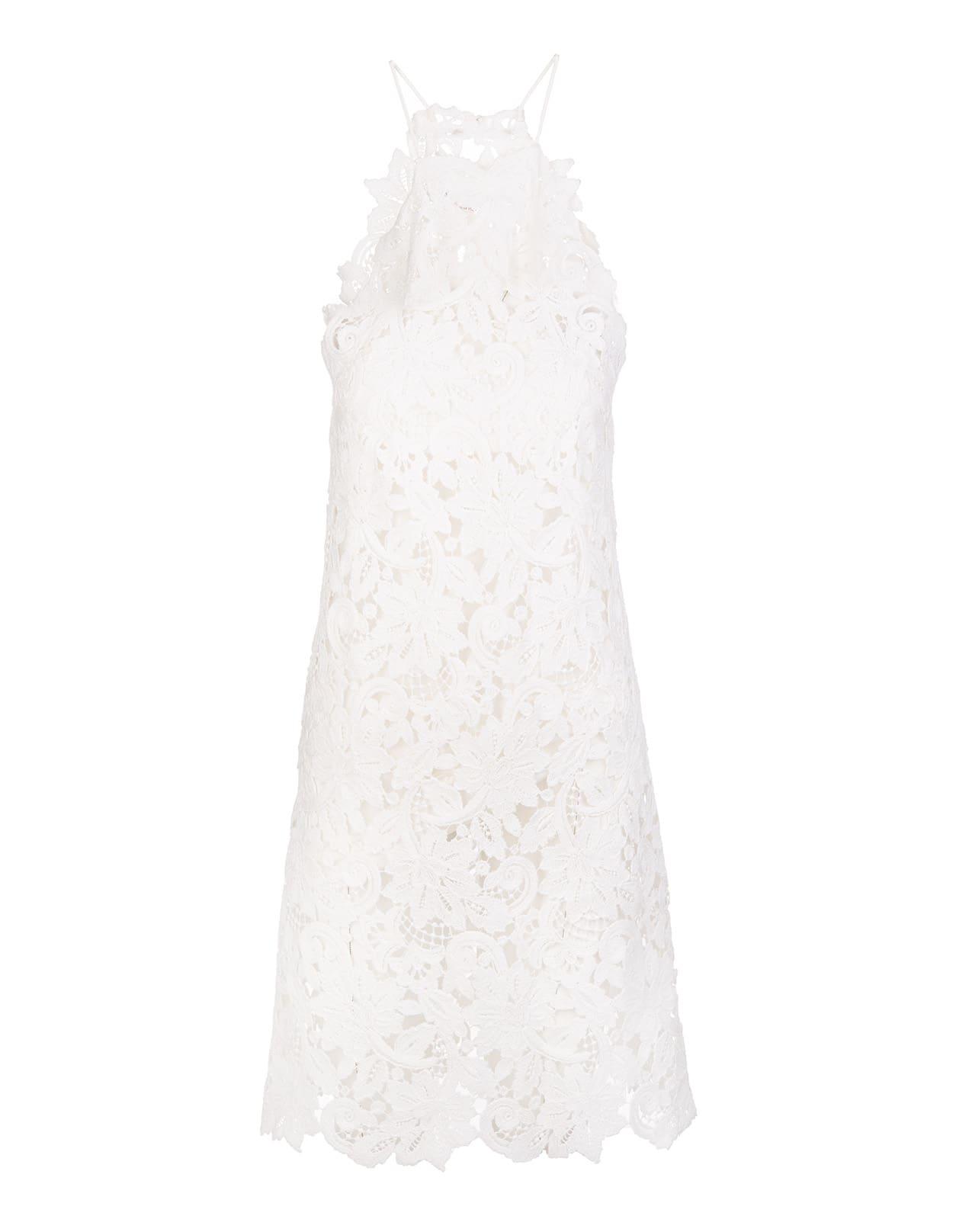 Ermanno Scervino Short Dress In White Lace With American Neckline