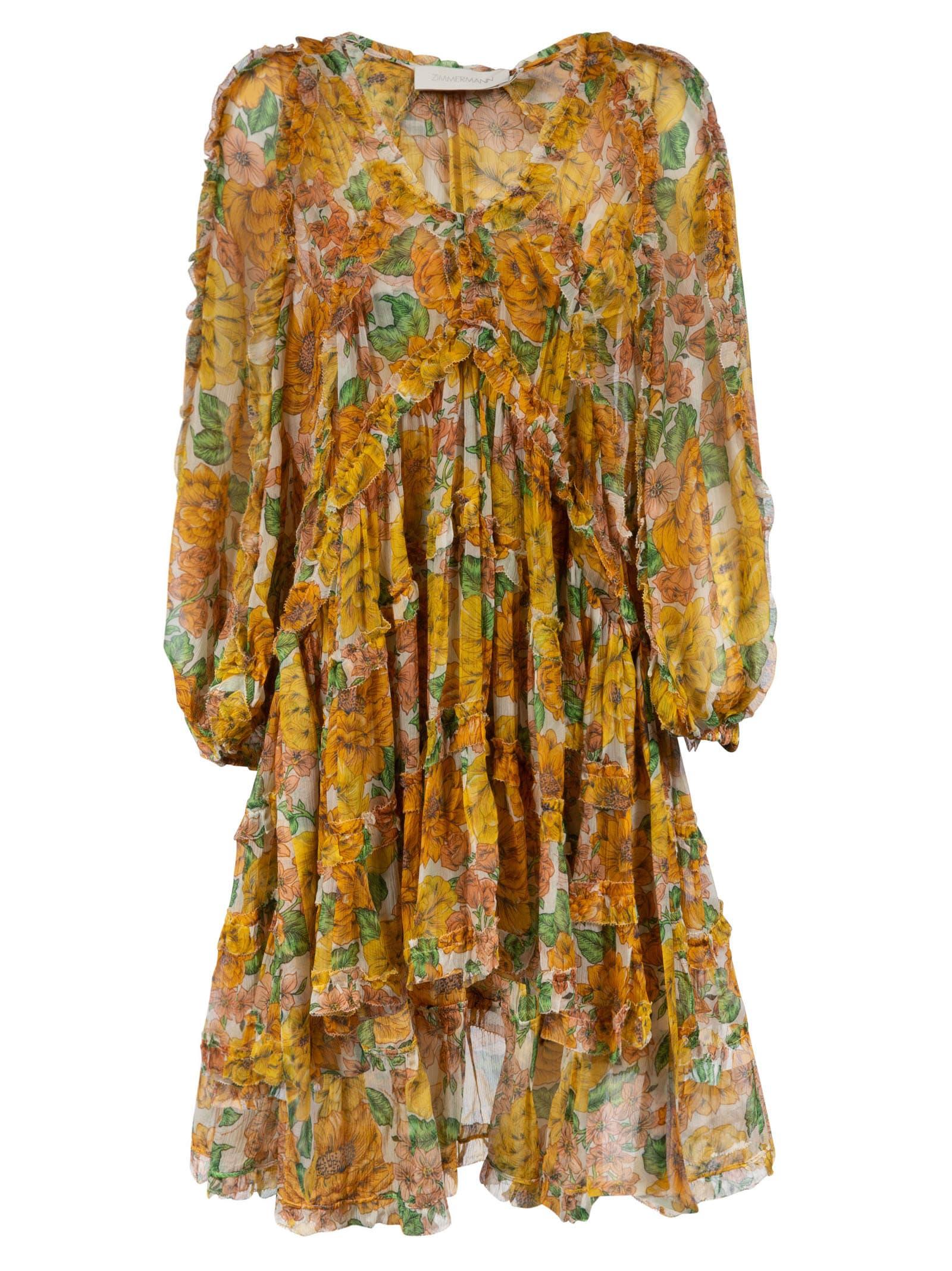 Buy Zimmermann Poppy Frill Billow Mini Dress online, shop Zimmermann with free shipping