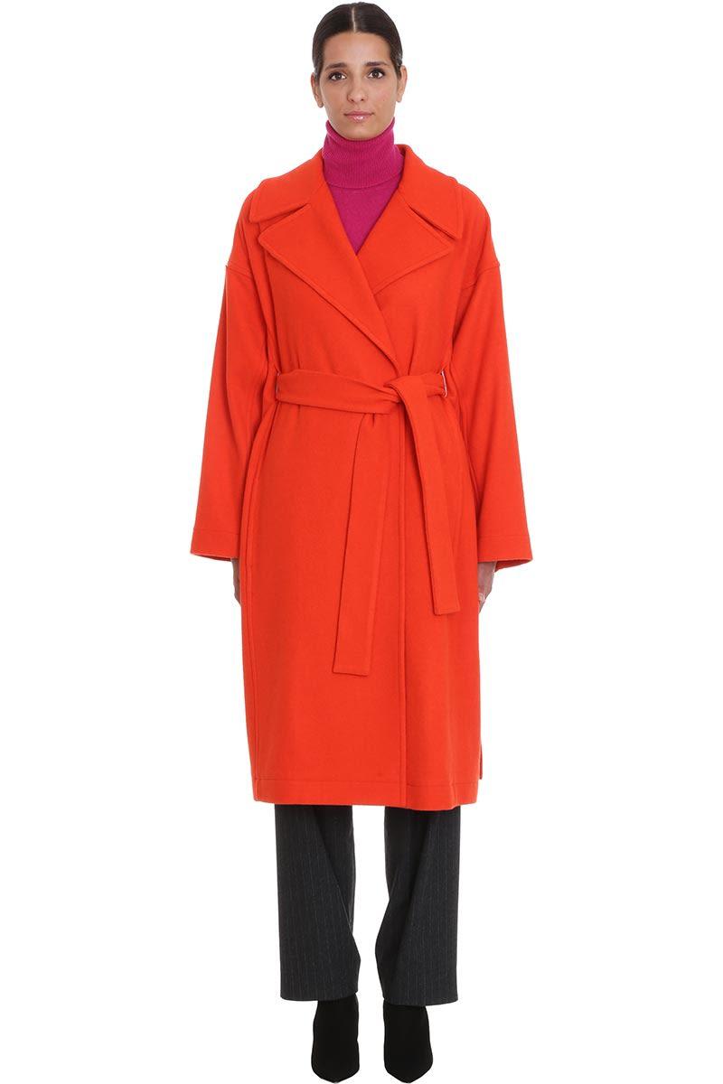 Maison Flaneur Coat In Orange Cashmere
