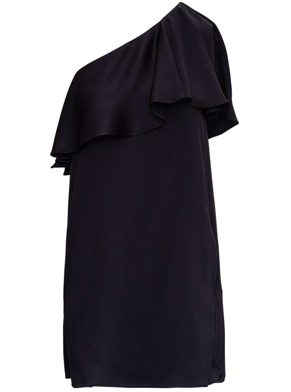 Saint Laurent One Shoulder Silk Satin Dress With Ruffles
