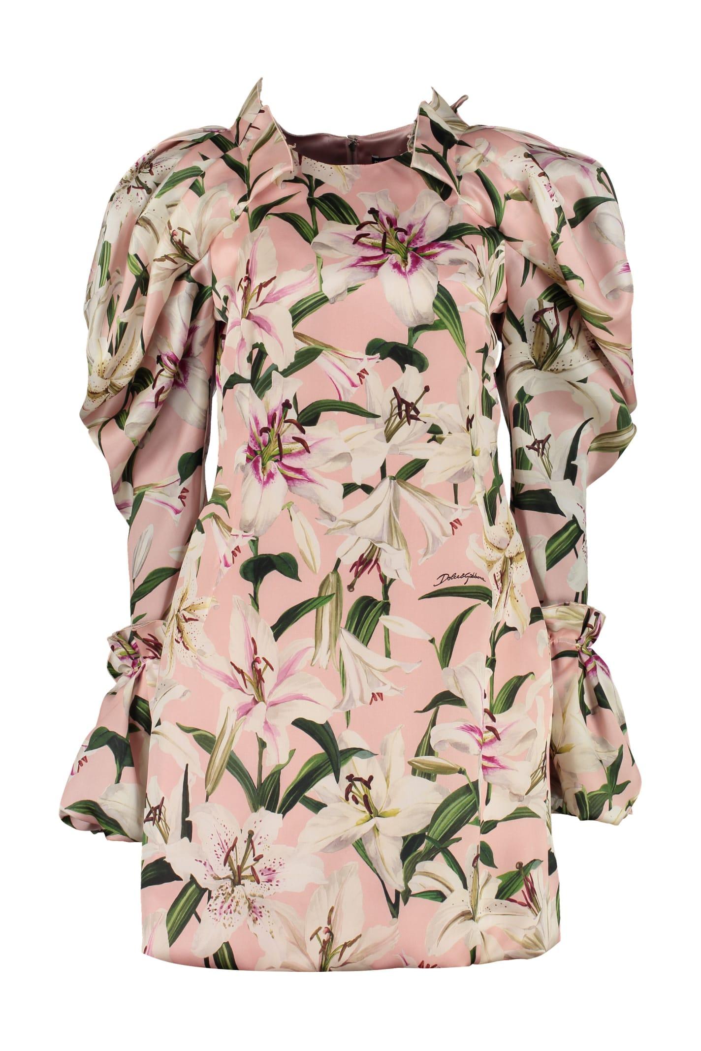 Dolce & Gabbana Printed Satin Dress