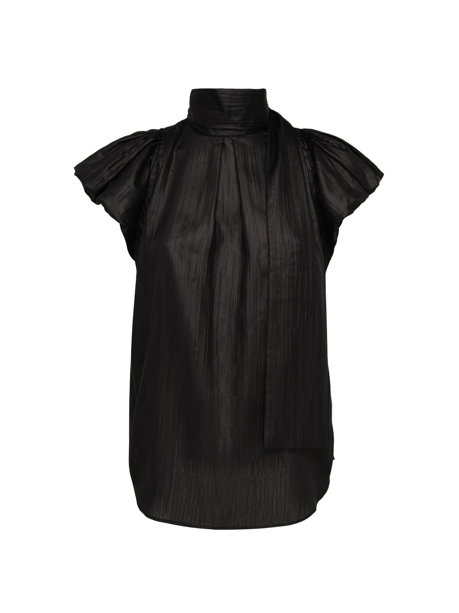 Black Top With Puffball Sleeves