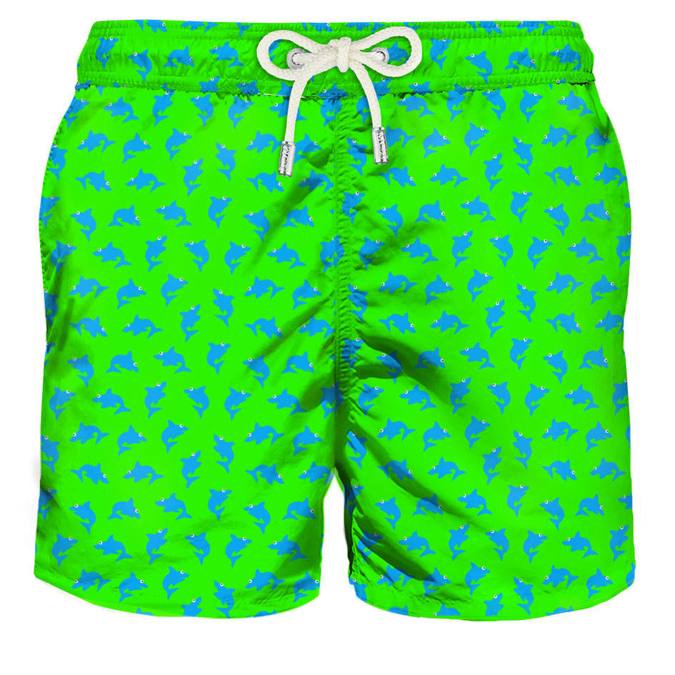 Micro Sharks Green Fluo Light Fabric Swim Shorts