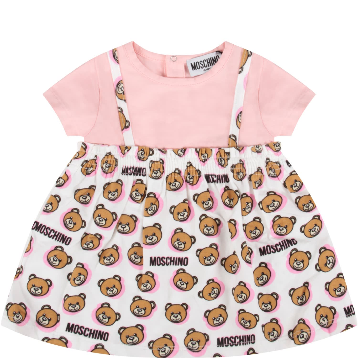 Buy Moschino Pink And White Babygirl Dress With Teddy Bears online, shop Moschino with free shipping