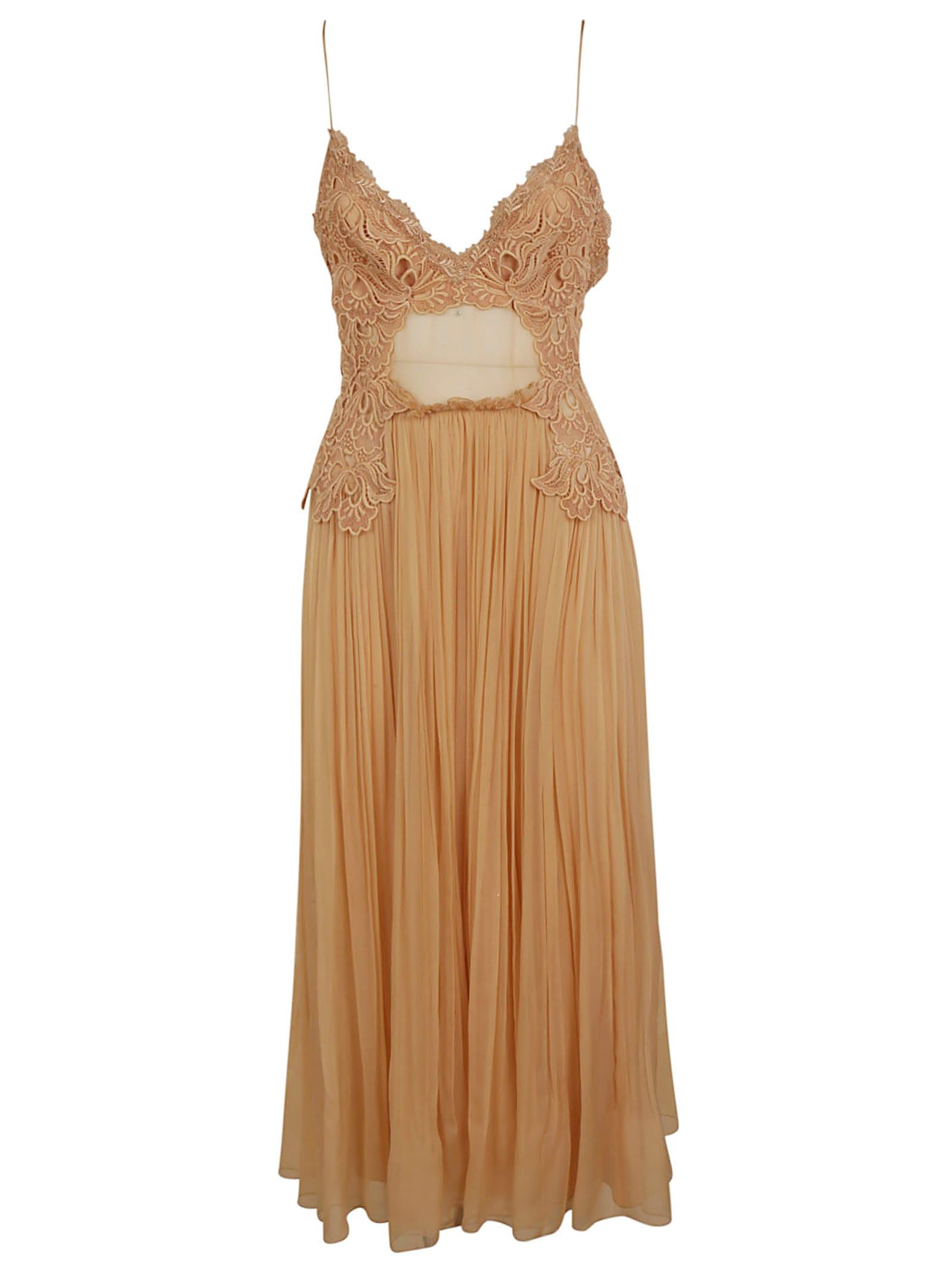 Alberta Ferretti Lace Applique Pleated V-neck Dress