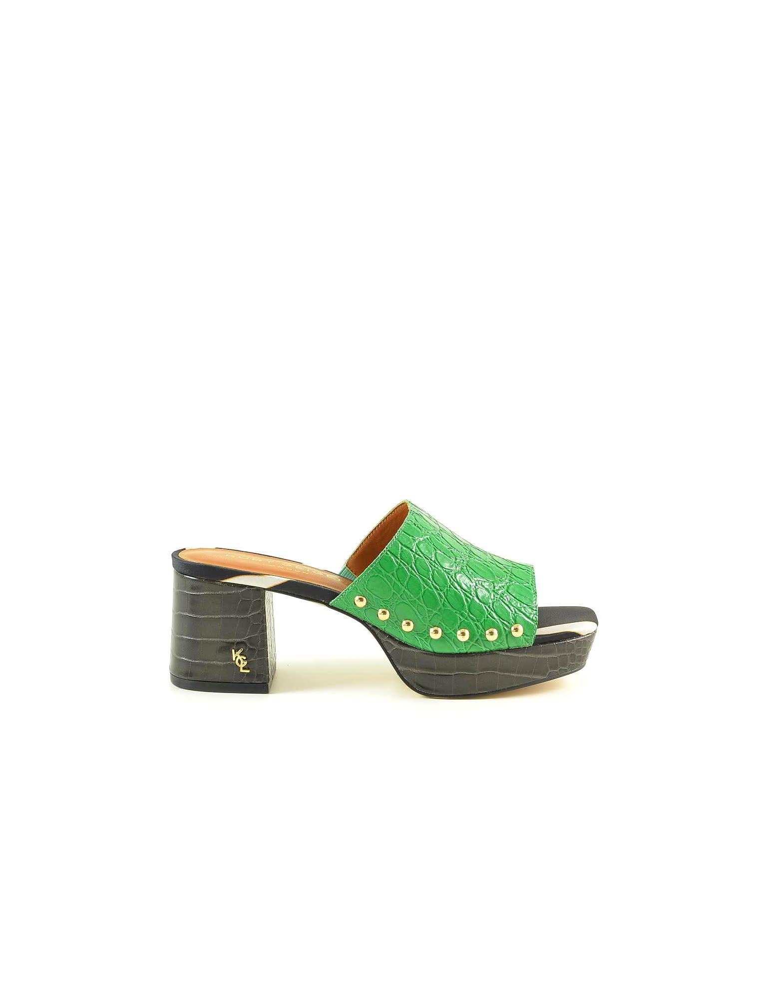 Black/green Croco Embossed Leather Mid-heel Slide Sandals