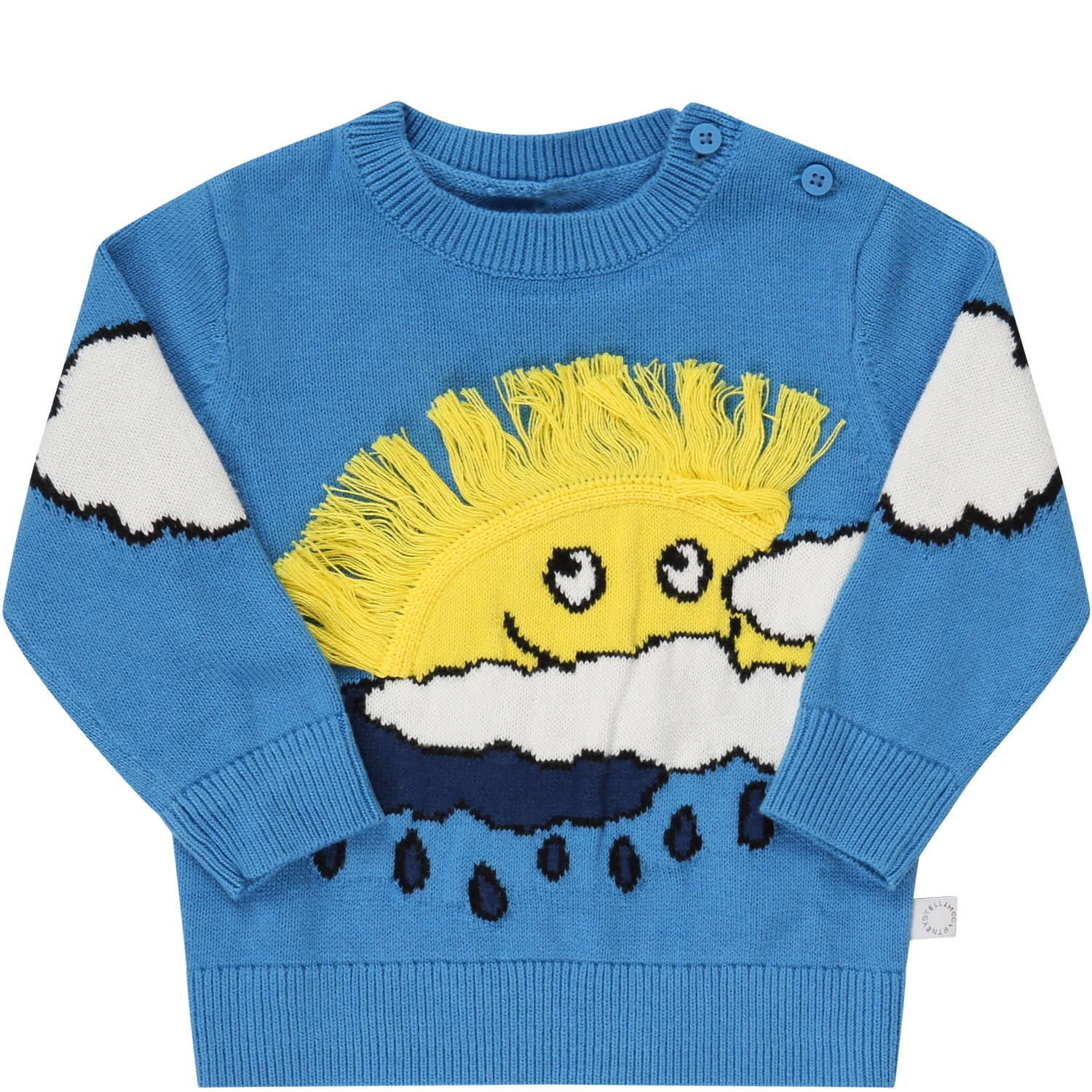 Stella Mccartney LIGHT BLUE SWEATER FOR KIDS WITH SUN