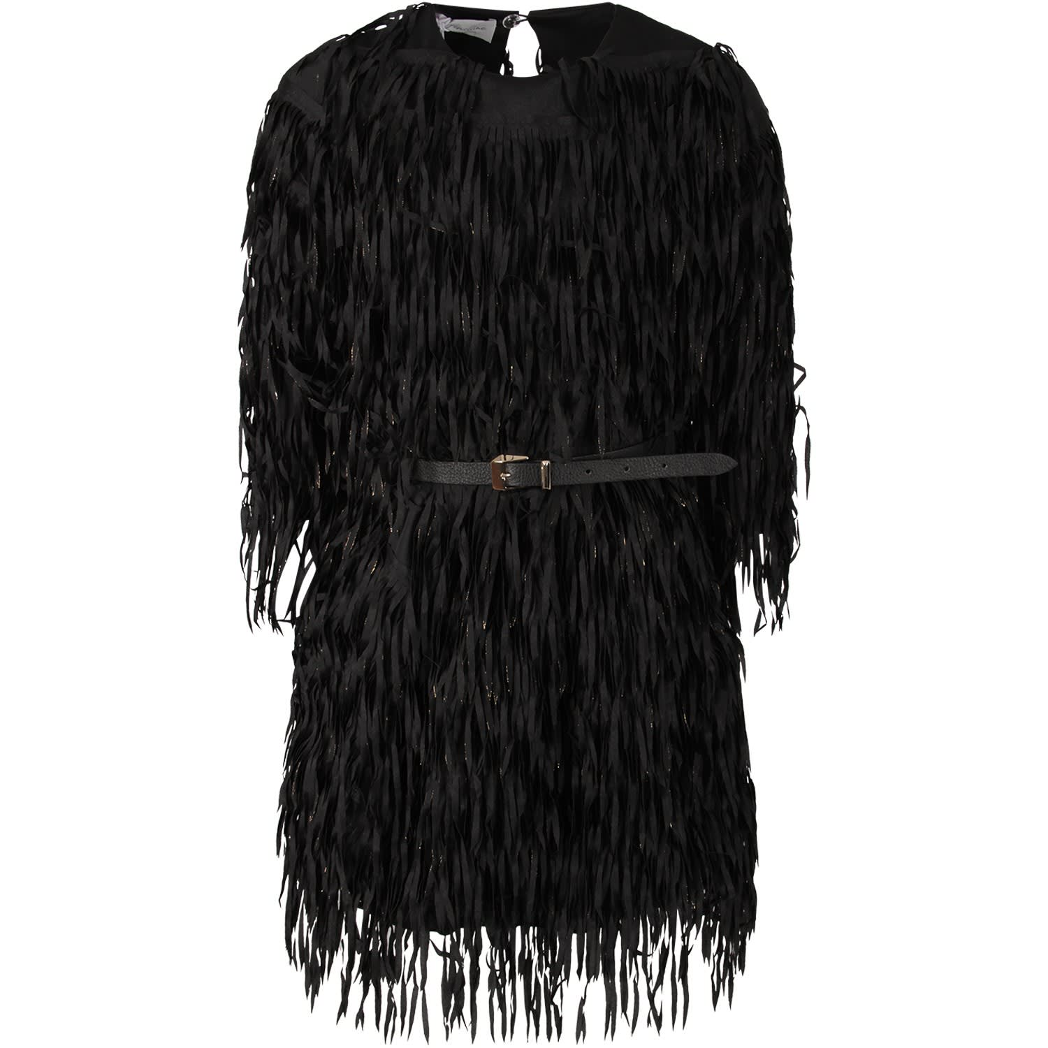 Le Gemelline by Feleppa Black Girl argentea Dress With Fringes