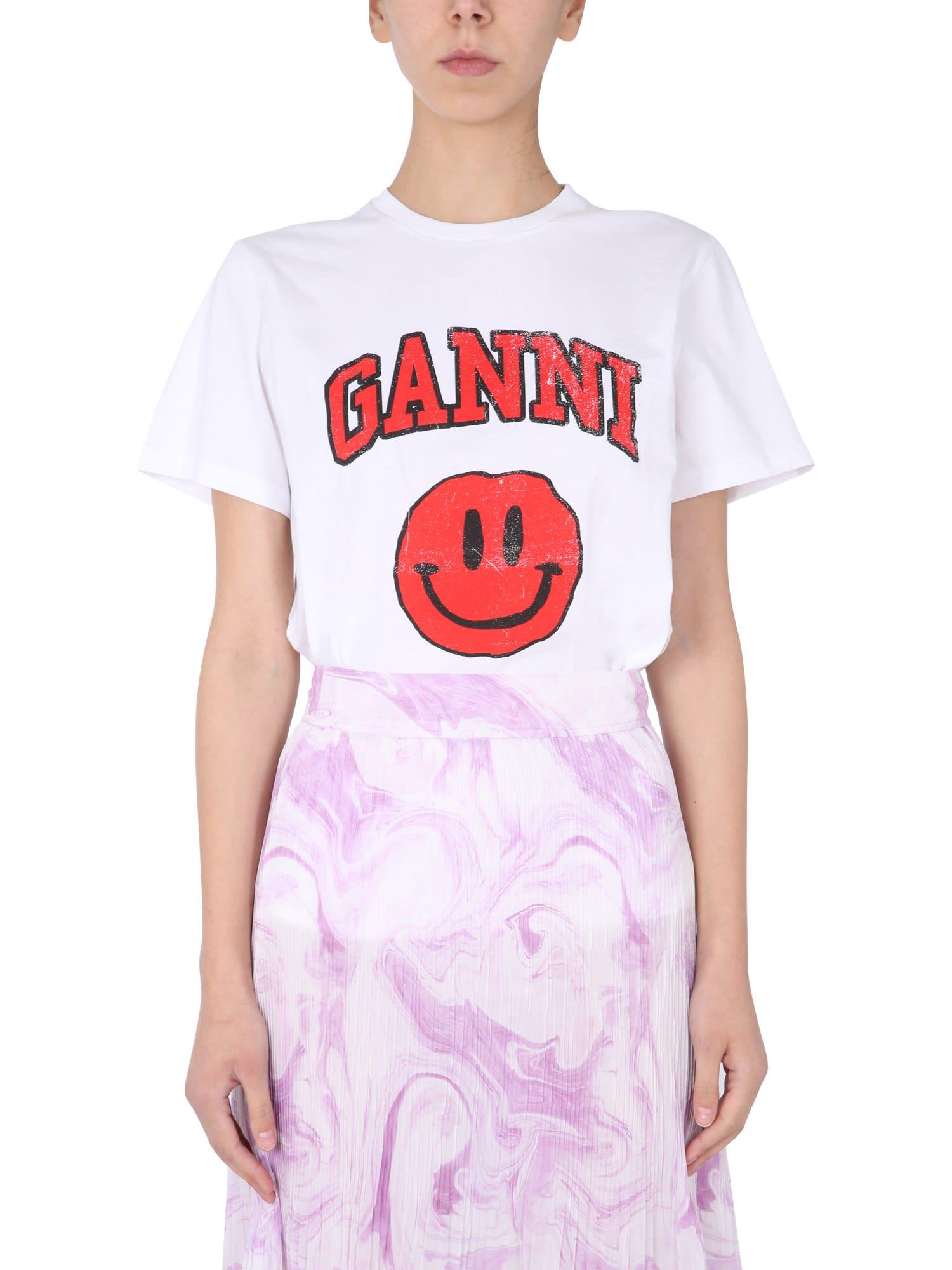 Ganni Cottons CREW NECK T-SHIRT