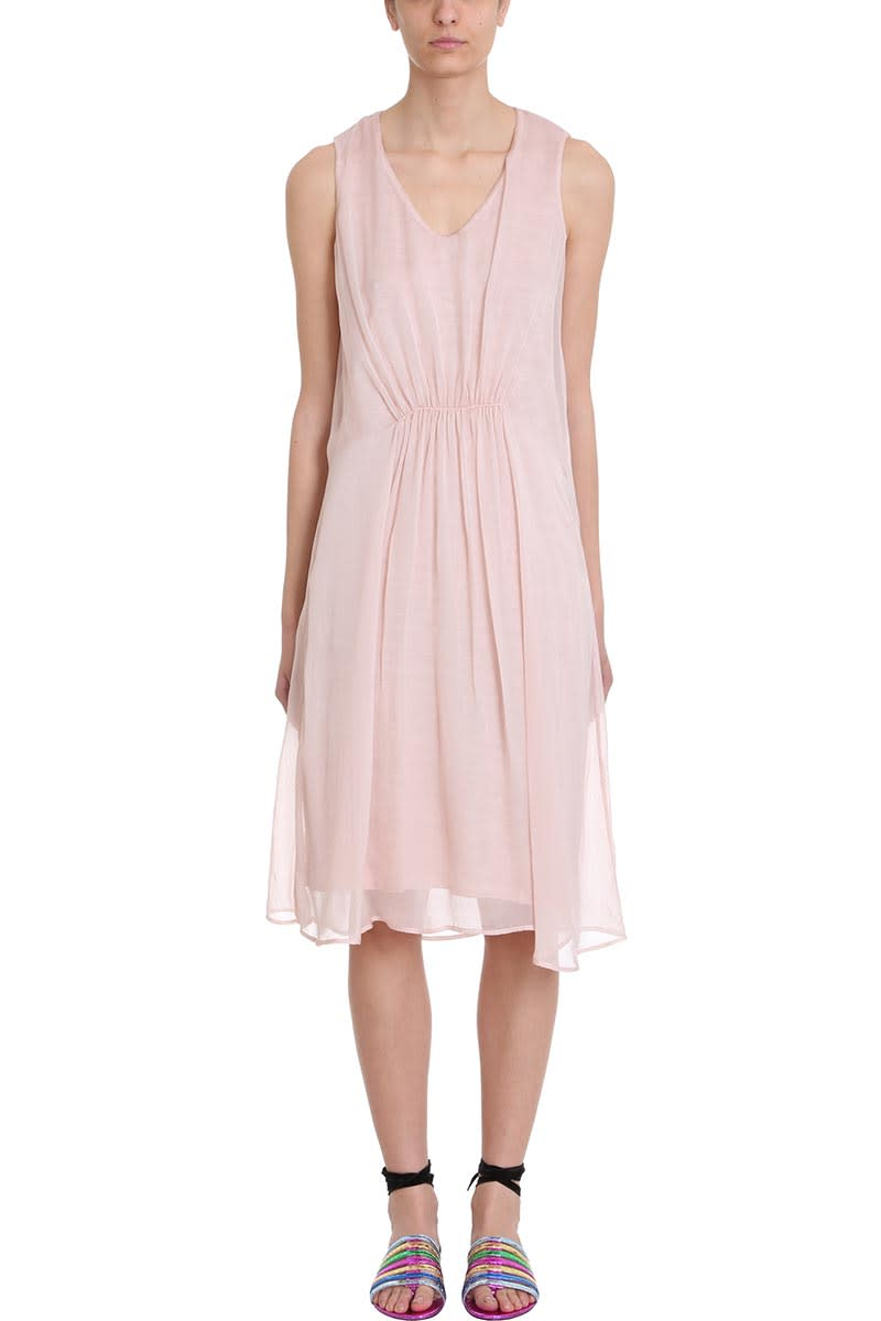 120% Lino Pink Draped Cotton And Linen Dress