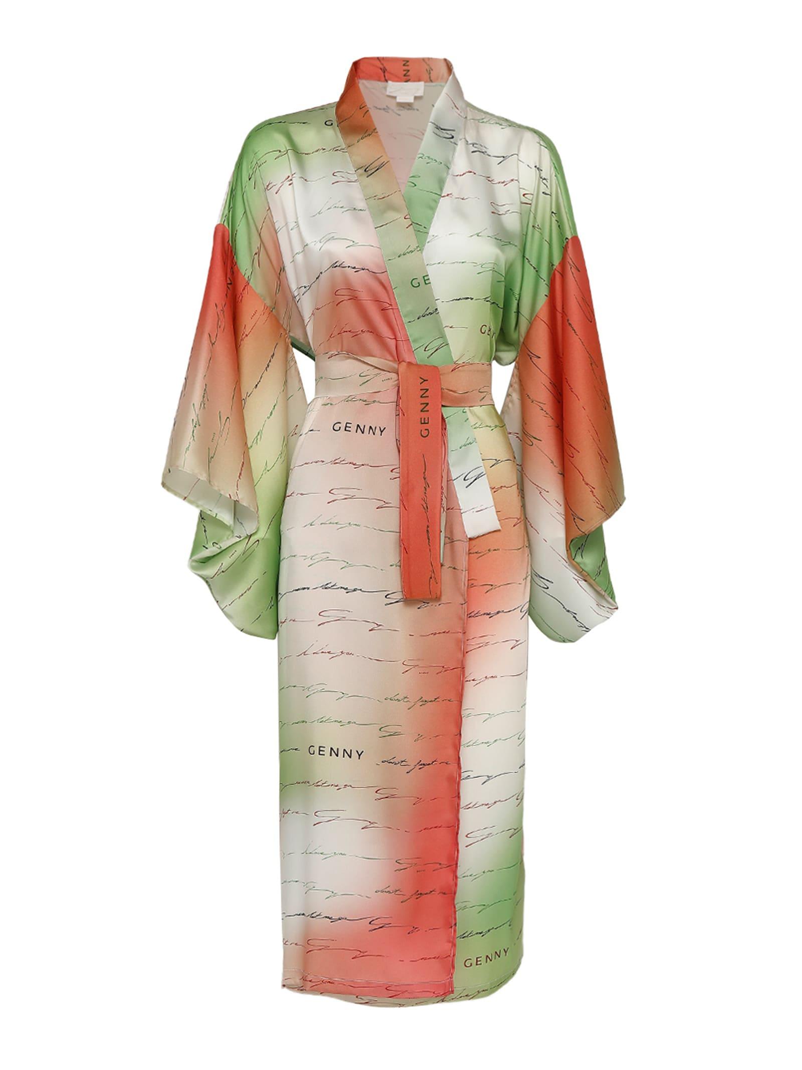 I Love You Printed Long Silk Tricolor Kimono