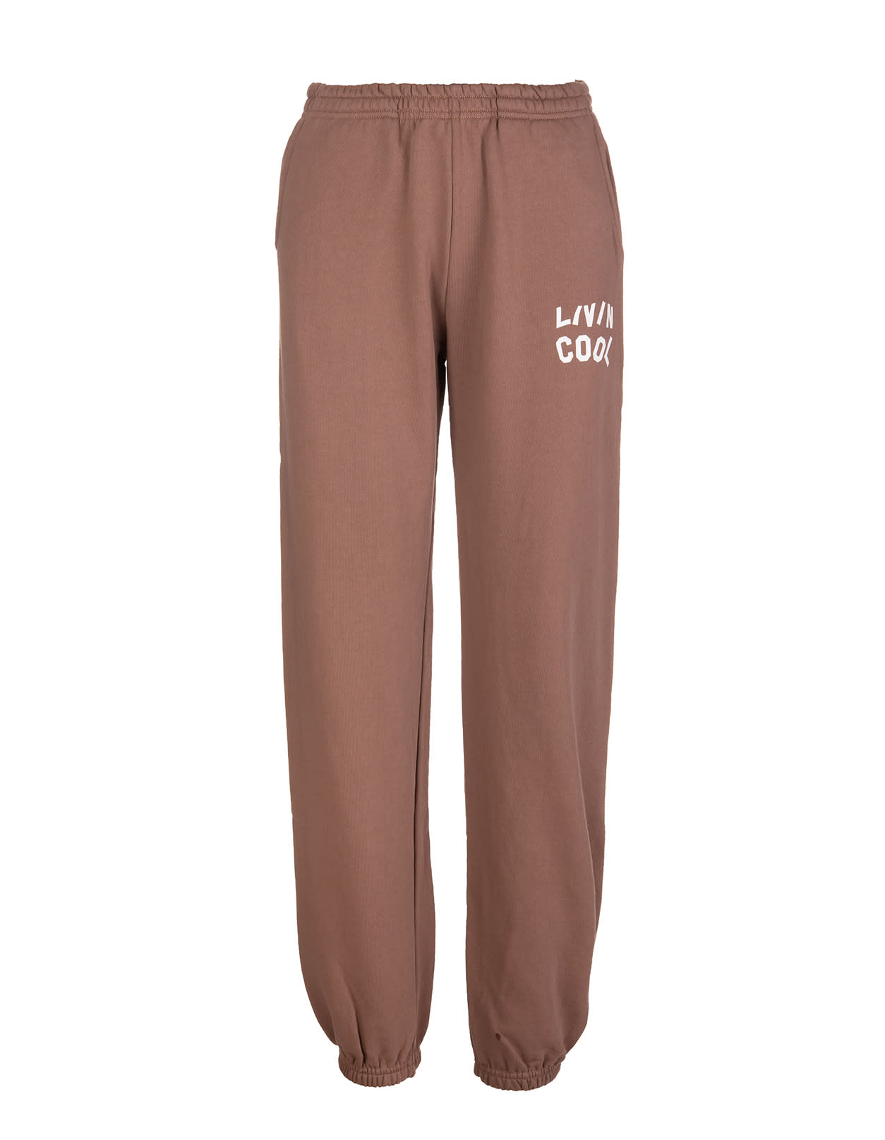 Woman Brown Joggers With Contrast Logo