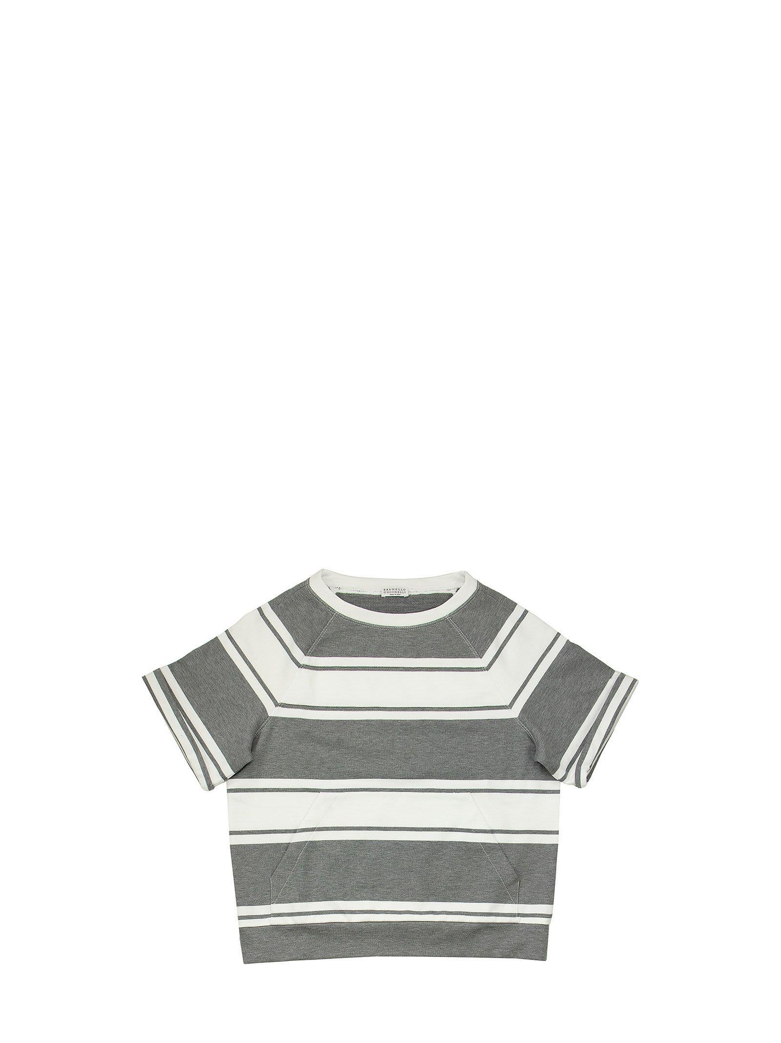 Brunello Cucinelli Cotton Striped French Terry Sweatshirt With Monili