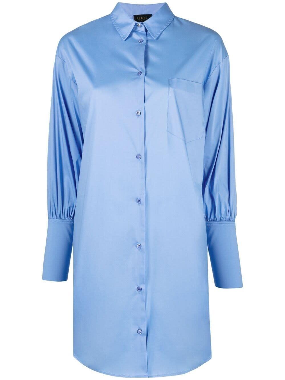 Liu •jo Mini dresses LIGHT BLUE COTTON SHIRT DRESS
