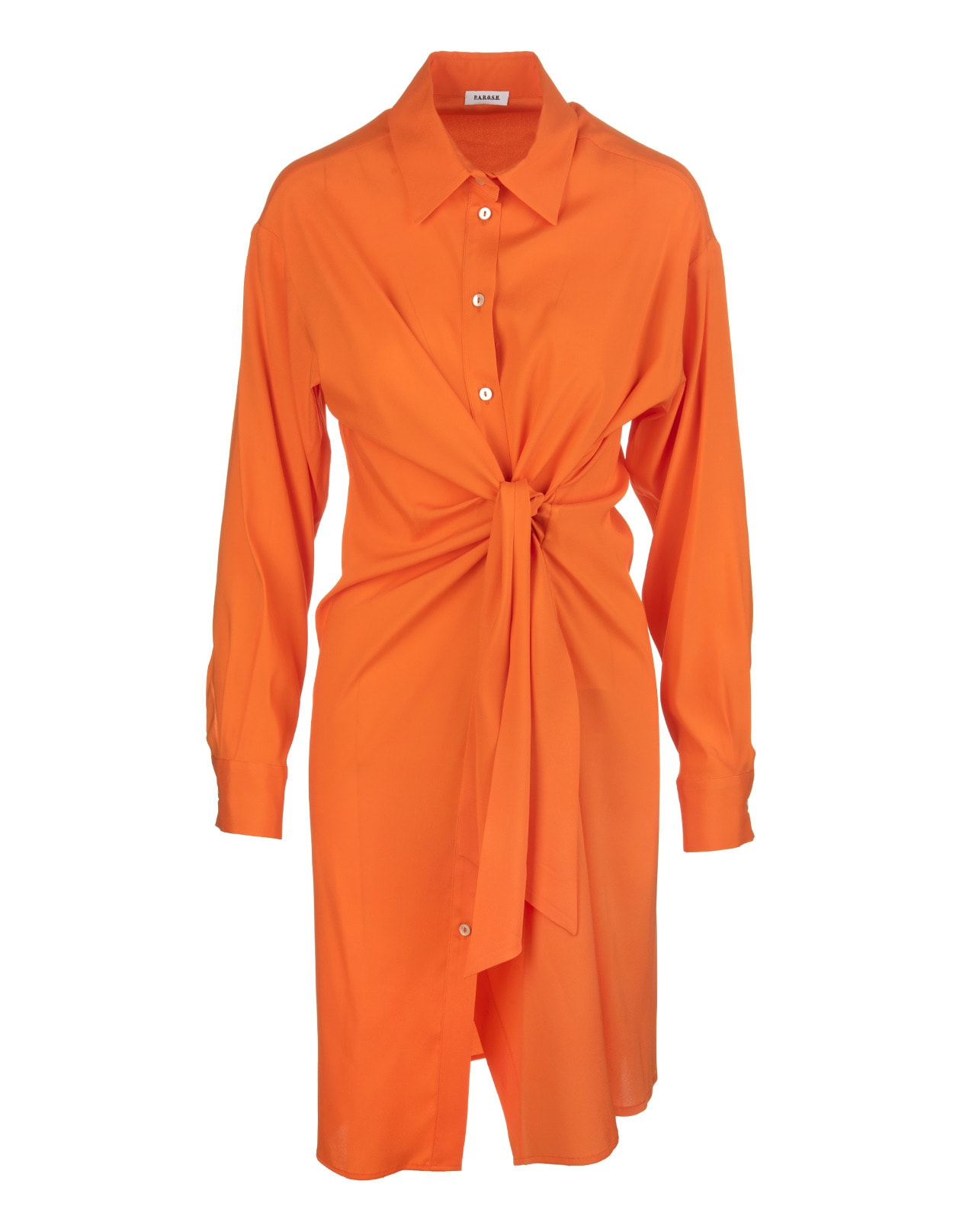 Chemisier dress by A.R.O.H. in orange silk blend with classic collar, front buttoning, long sleeves, cuffs with button, belt with front knot, medium length and soft fit. Composition: 93% Silk, 7% Elastane