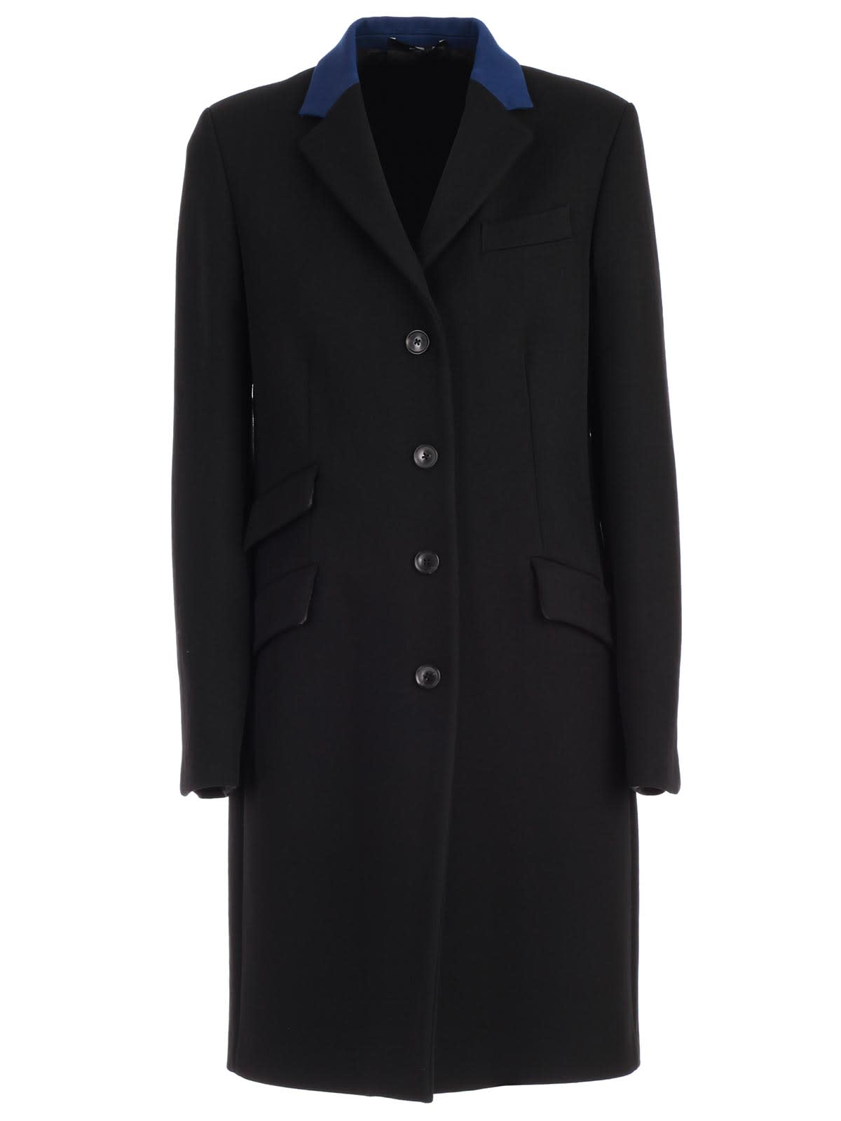 Paul Smith Coat Straight W/leather Collar