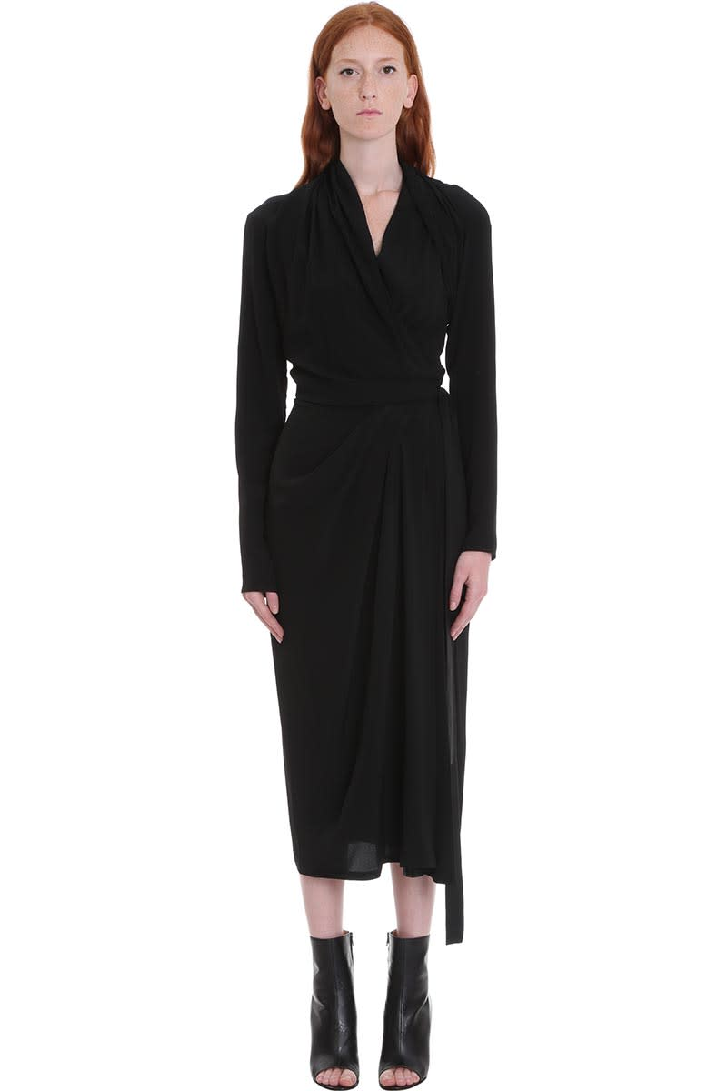 Rick Owens Wrap Ls Dress Dress In Black Silk
