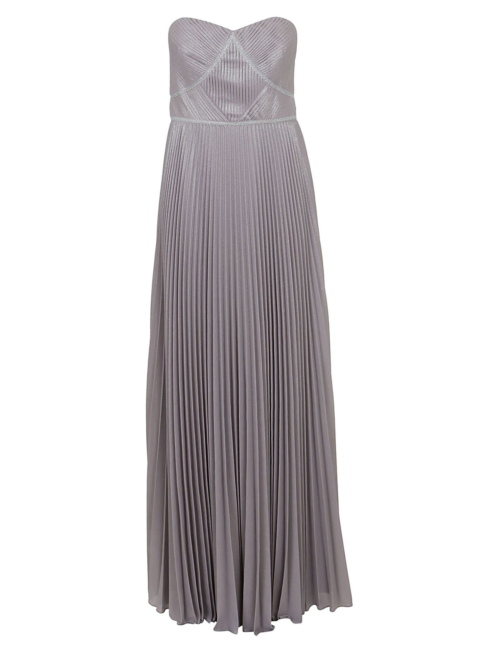 Marchesa Strpless Pleated Lame Dress