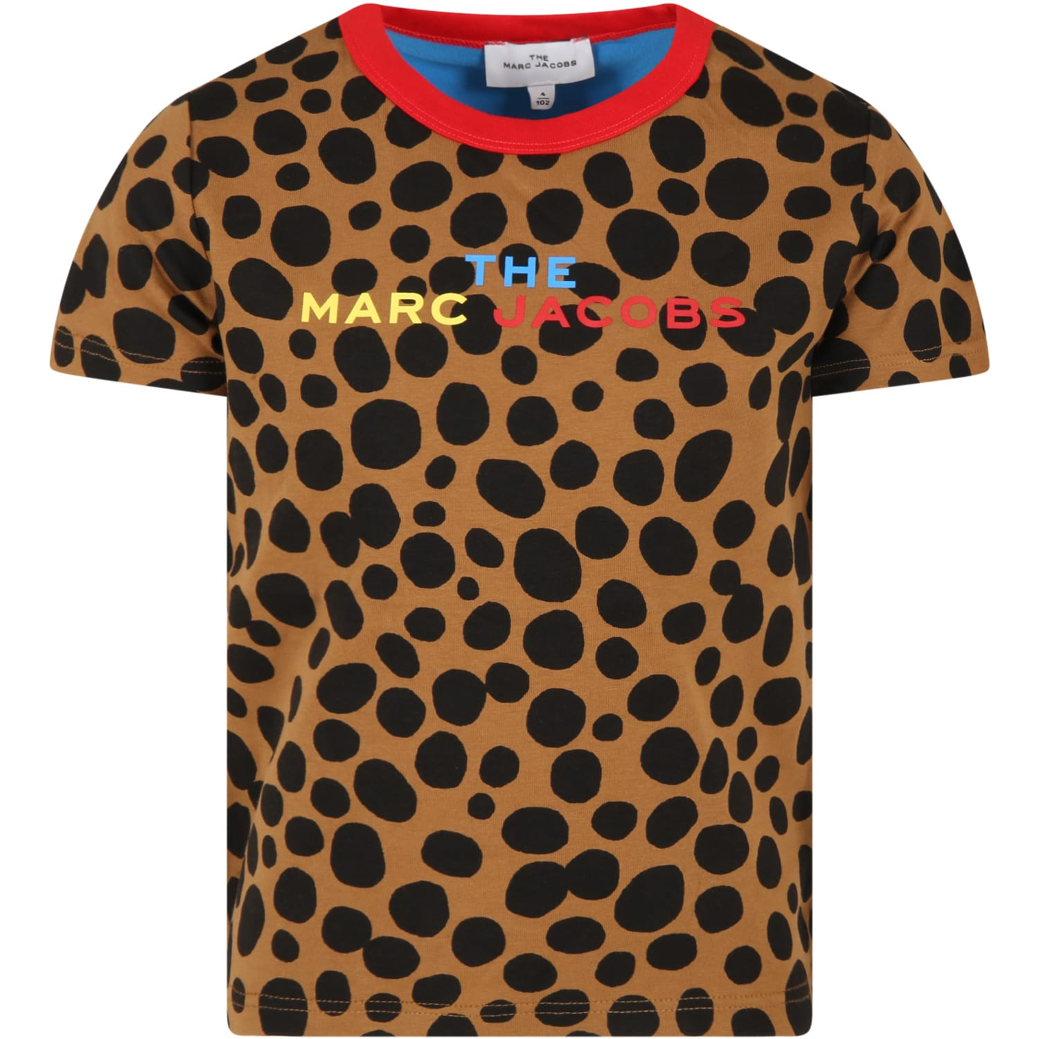 Brown T-shirt For Kids With Multicolor Logo