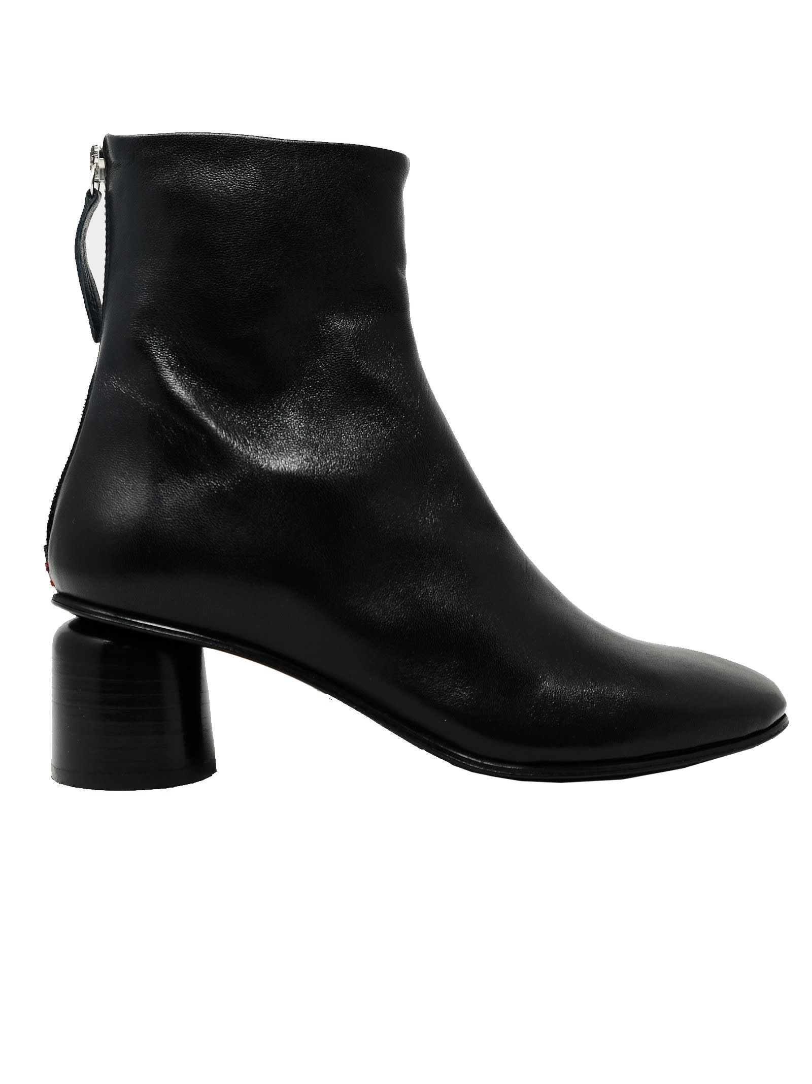Anya13black Leather Ankle Boots