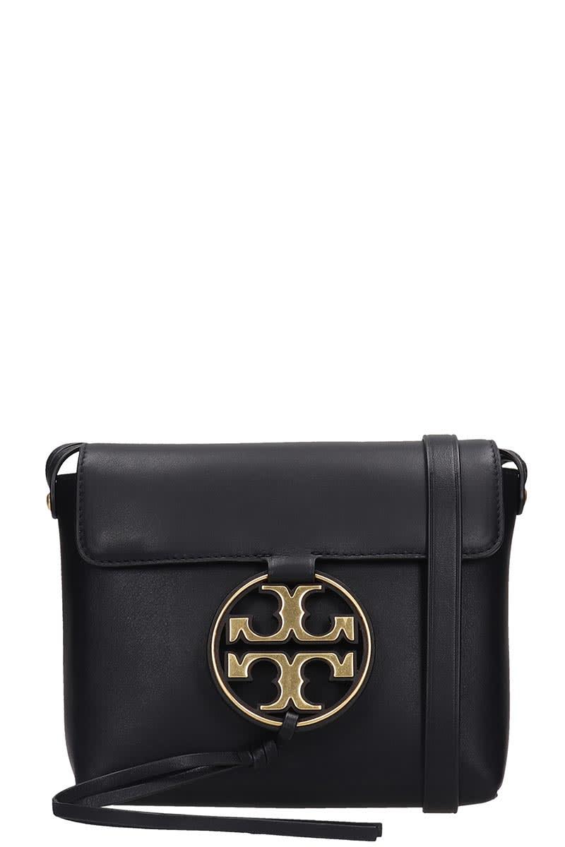 Tory Burch Miller Metal Shoulder Bag In Black Leather