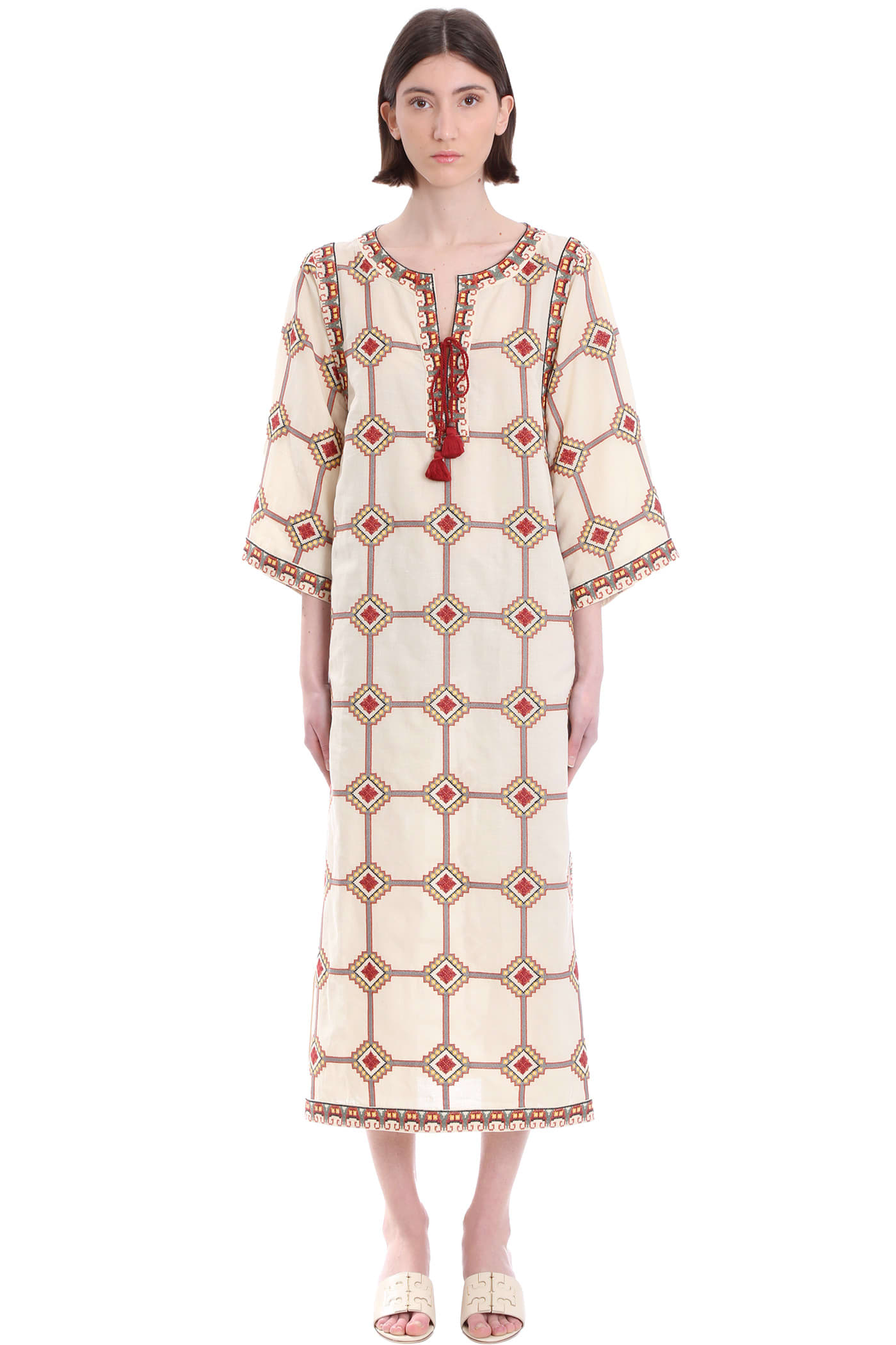 Buy Tory Burch Dress In Beige Linen online, shop Tory Burch with free shipping