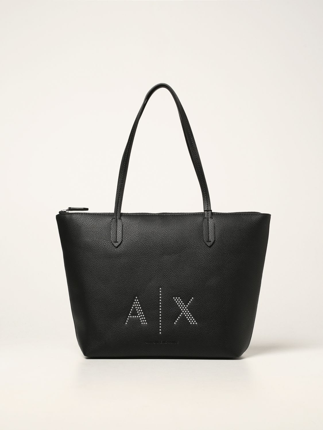 Armani Exchange Tote Bags Armani Exchange Shoulder Bag In Textured Synthetic Leather