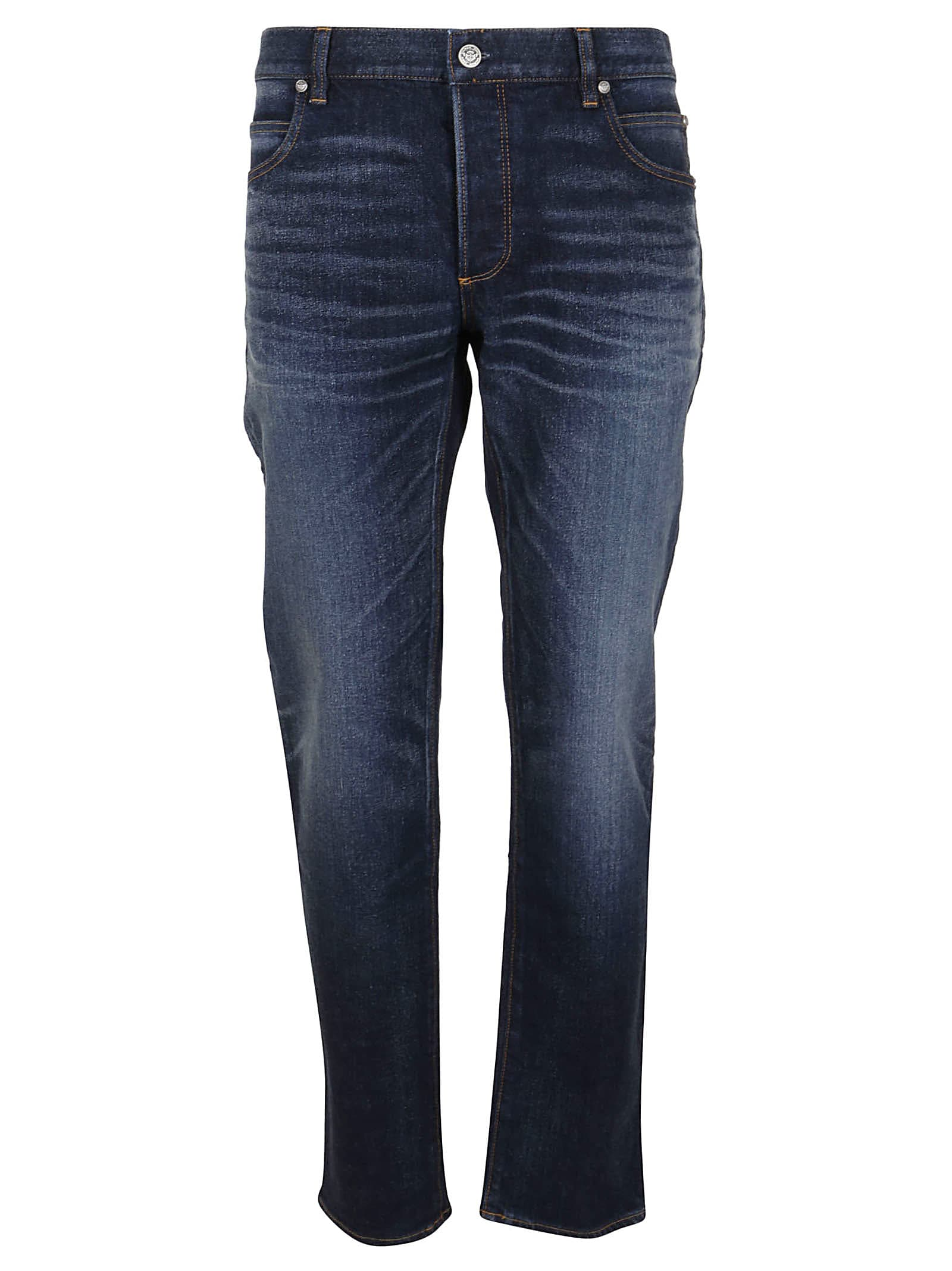 Balmain B EMBROIDERED TAPERED JEANS-RAW VINTAGE