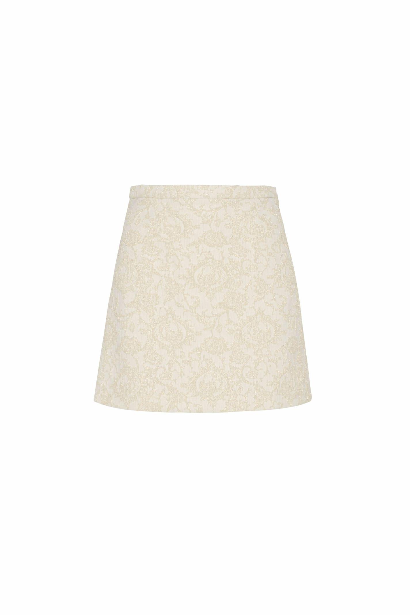 Baby Mini Skirt In Ivory Brocade