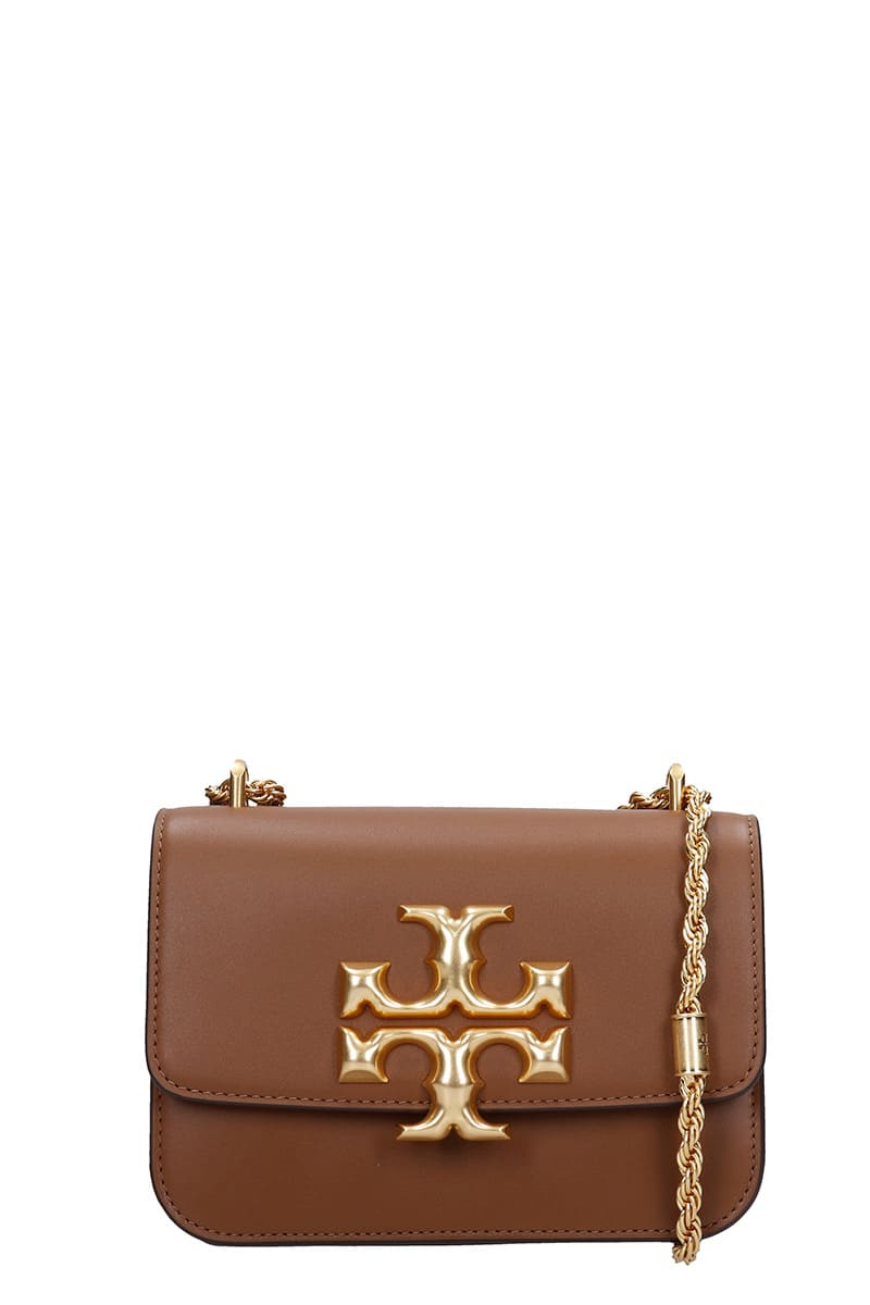 Tory Burch ELEONOR SHOULDER BAG IN BROWN LEATHER