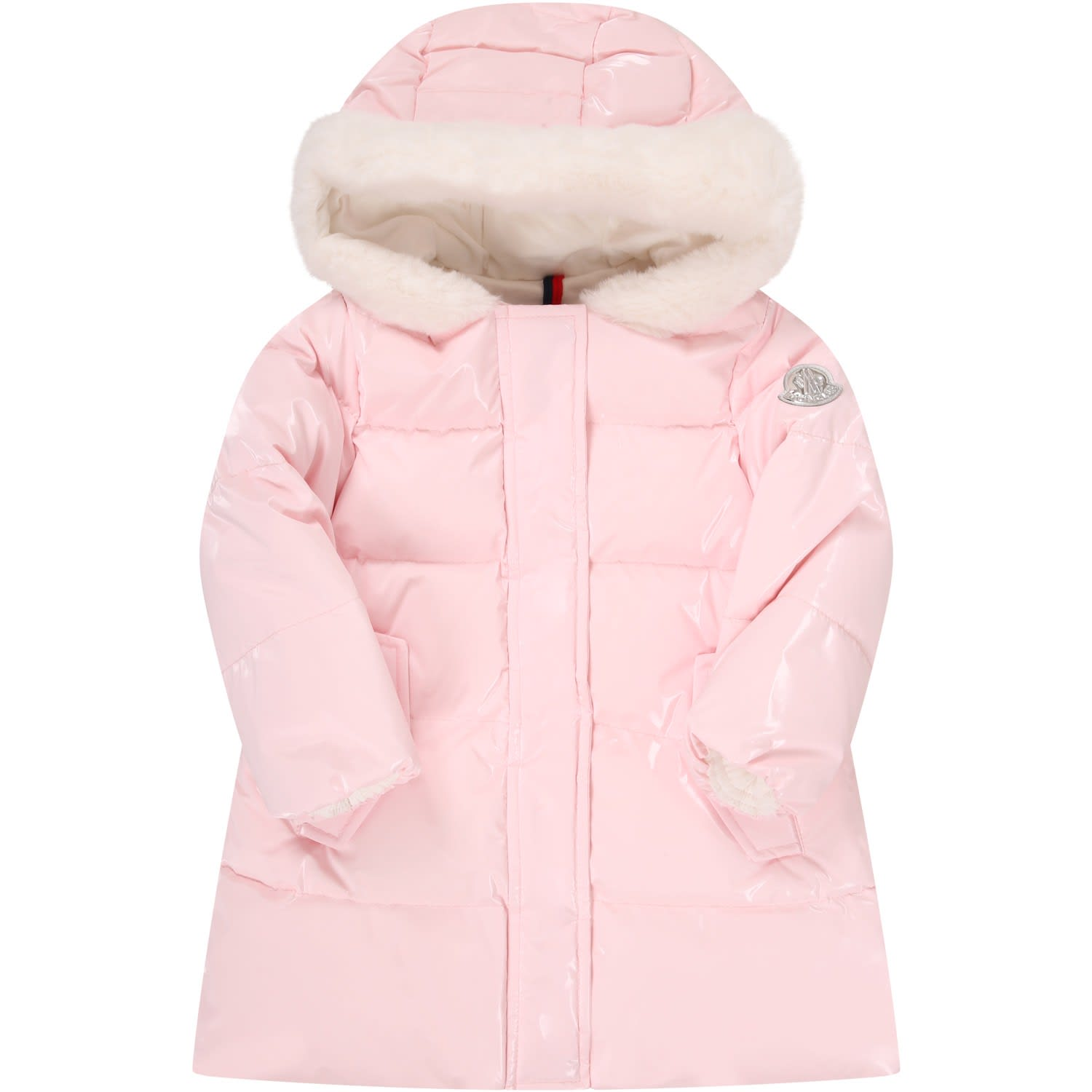 Moncler Pink Jacket For Babygirl With Iconic Logo