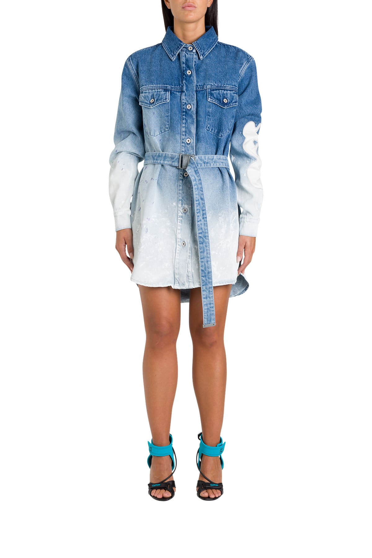 Buy Off-White Bleached Denim Pinafore Dress online, shop Off-White with free shipping