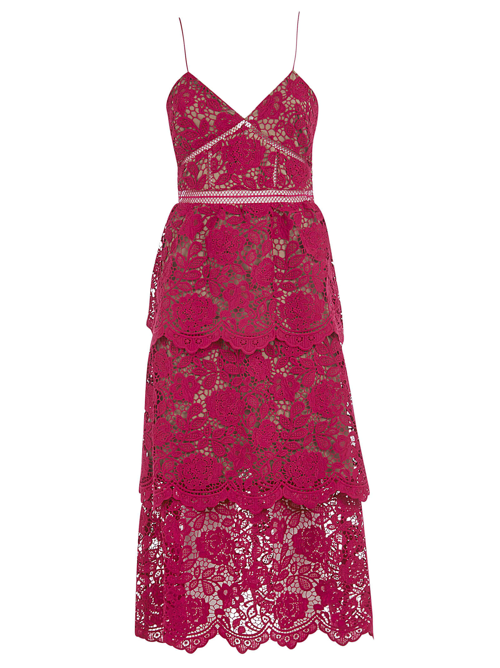 Buy self-portrait Fuchsia Flower Lace Midi Dress online, shop self-portrait with free shipping