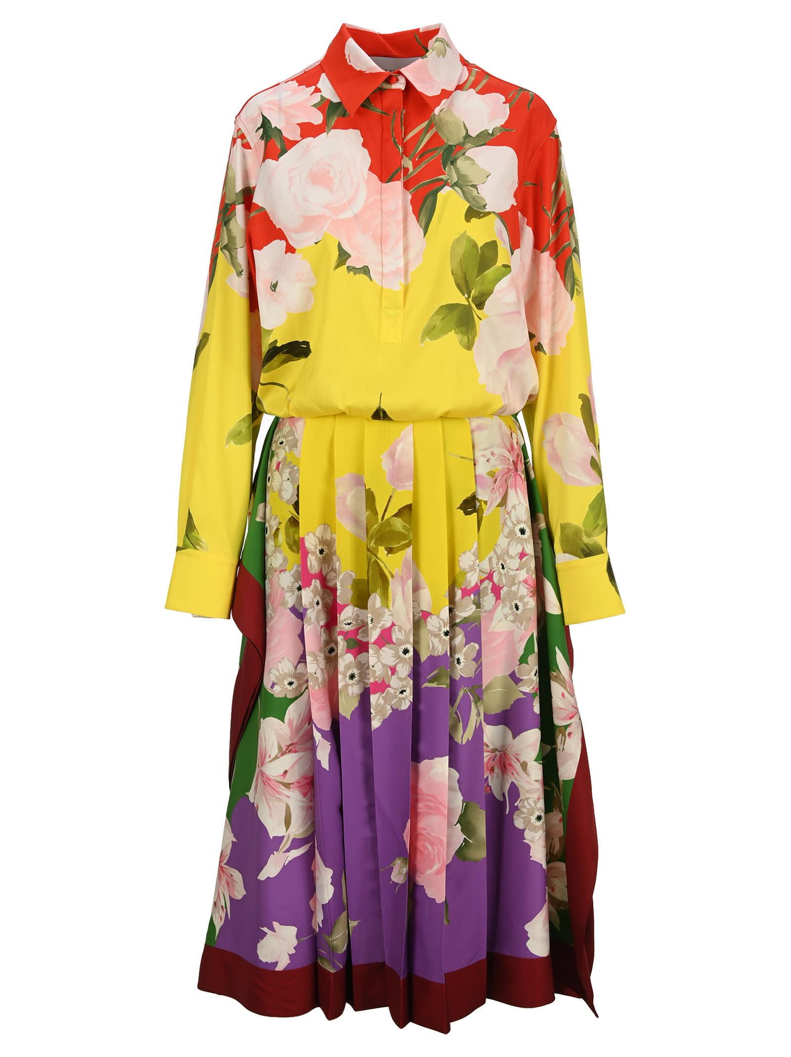 Valentino Flying Flowers Print Stretch Twill Dress