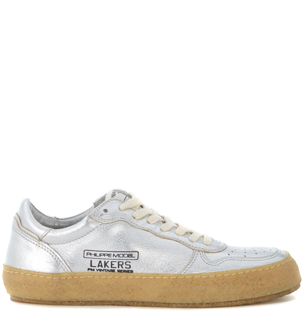 Philippe Model Lakers Vintage Silver Leather Sneaker