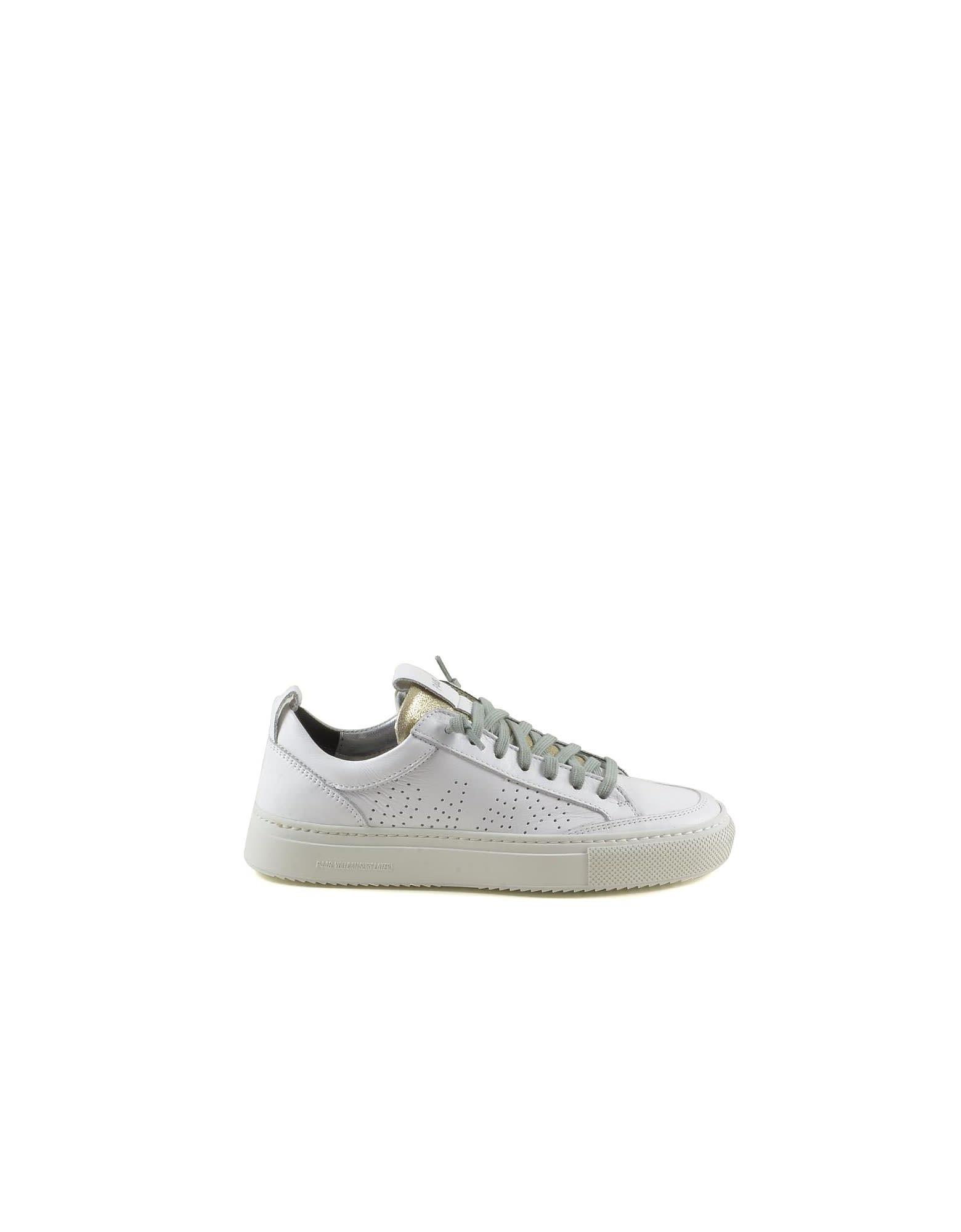 P448 WHITE/PLATINUM LEATHER WOMENS SNEAKERS