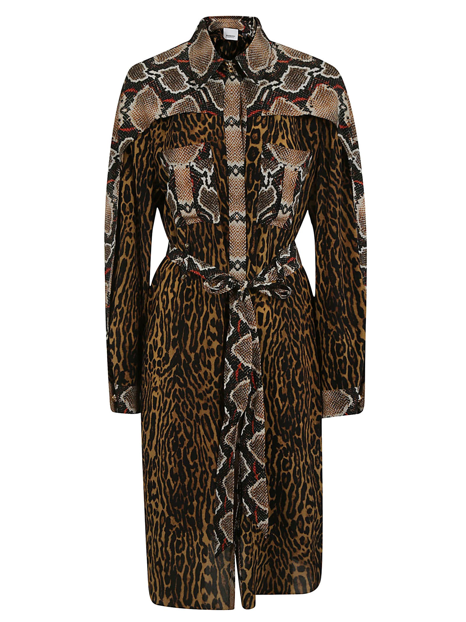 Buy Burberry Snake And Leopard Print Maxi Dress online, shop Burberry with free shipping